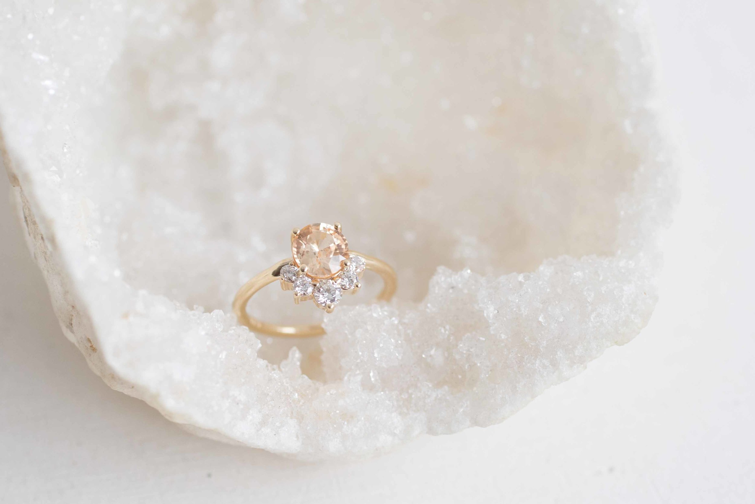 Daniel Cooper Custom Oval Apricot Sapphire + Diamond Cluster Engagament Ring-3.jpg