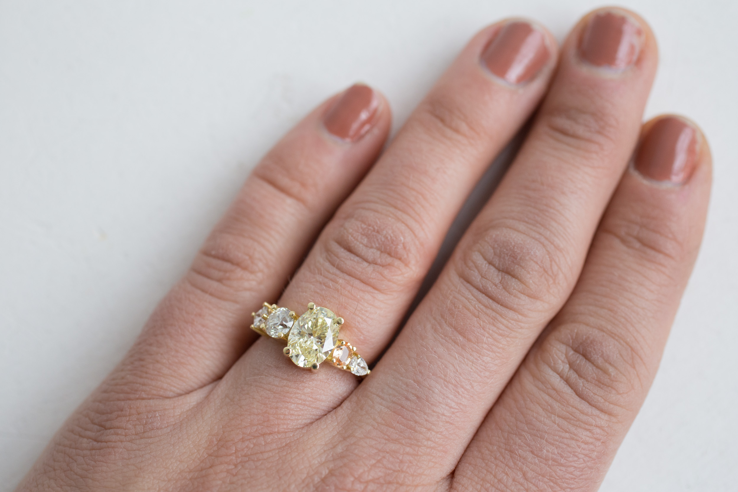 Roger + Julie Yellow Oval Diamond, Peach Sapphire + Diamond Accent Custom Engagement Ring-12.jpg