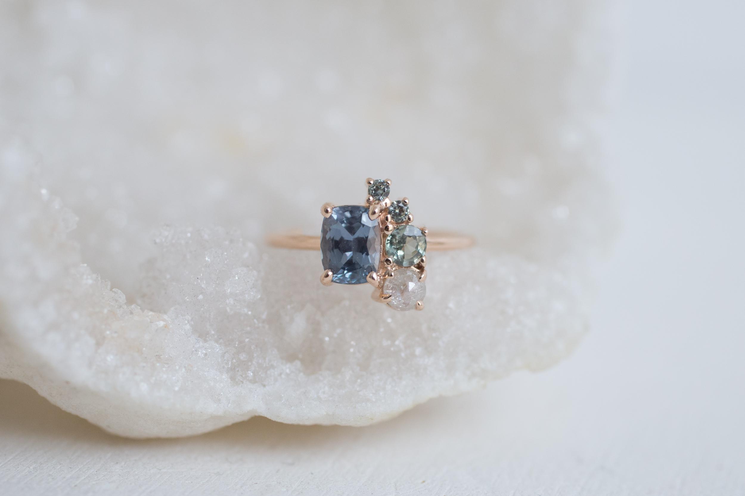 Sarah + Jonathan Sapphire Rustic Diamond Cluster Engagement Ring-10.jpg