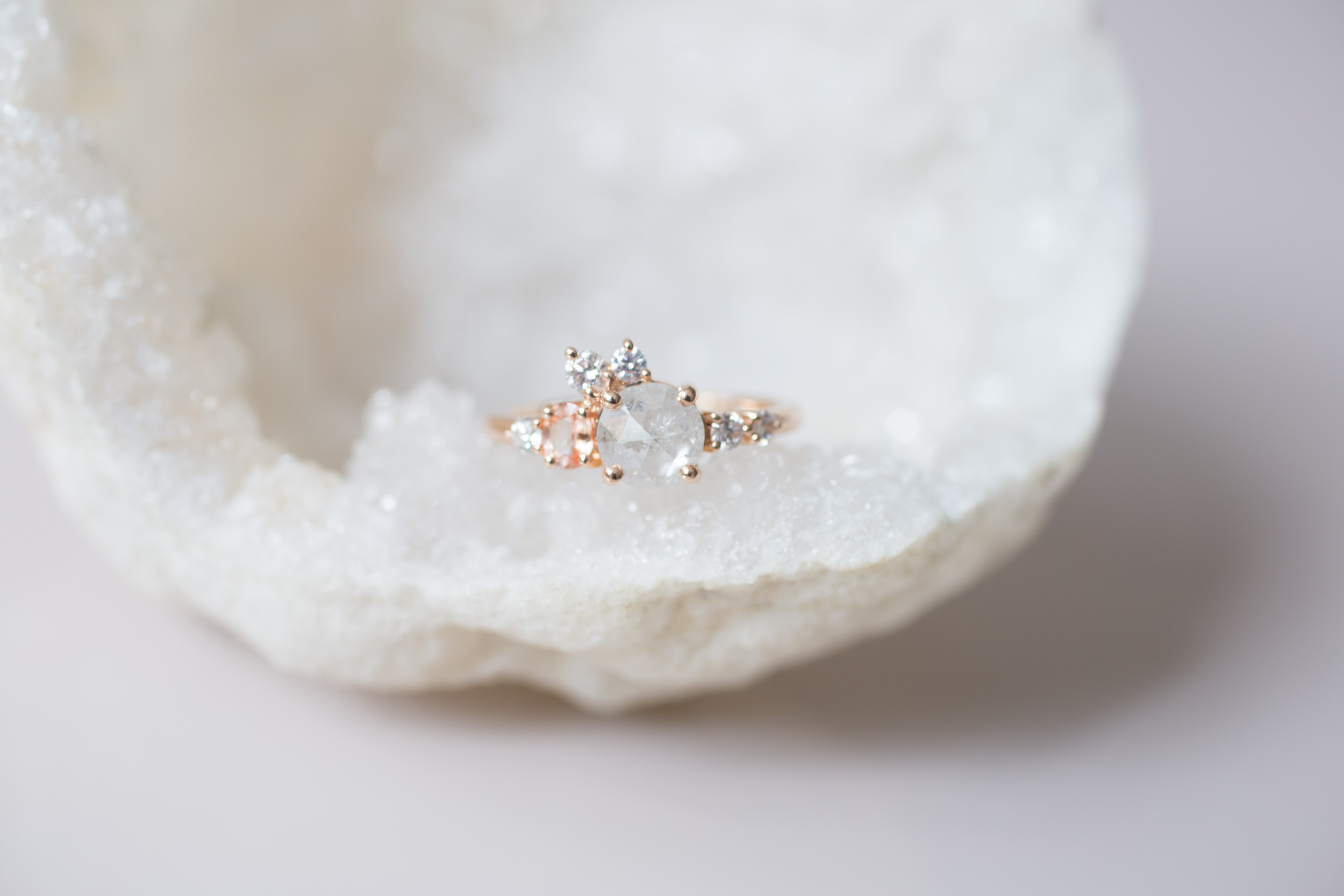 Cassie + Joe Rustic Diamond, Peach Sapphire, White Diamond Engagement Cluster-1.jpg