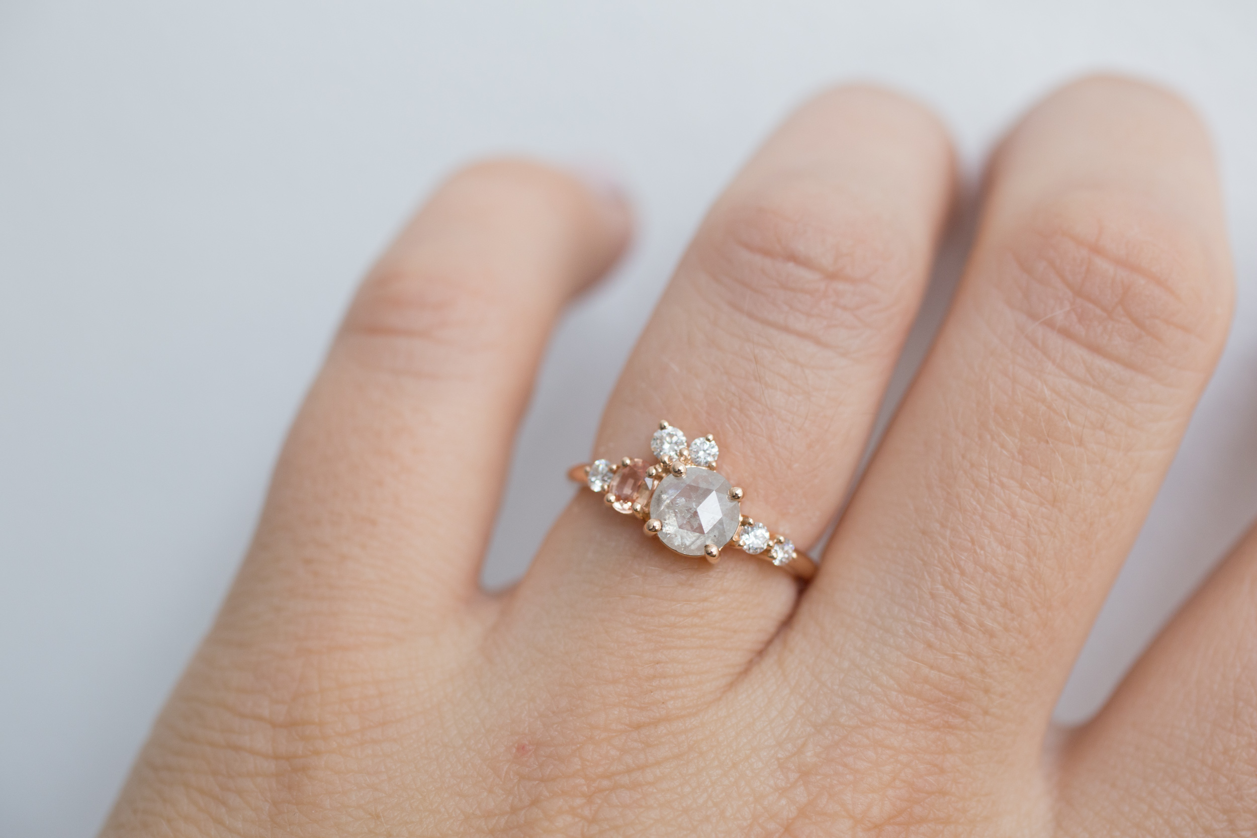 Cassie + Joe Rustic Diamond, Peach Sapphire, White Diamond Engagement Cluster-13.jpg