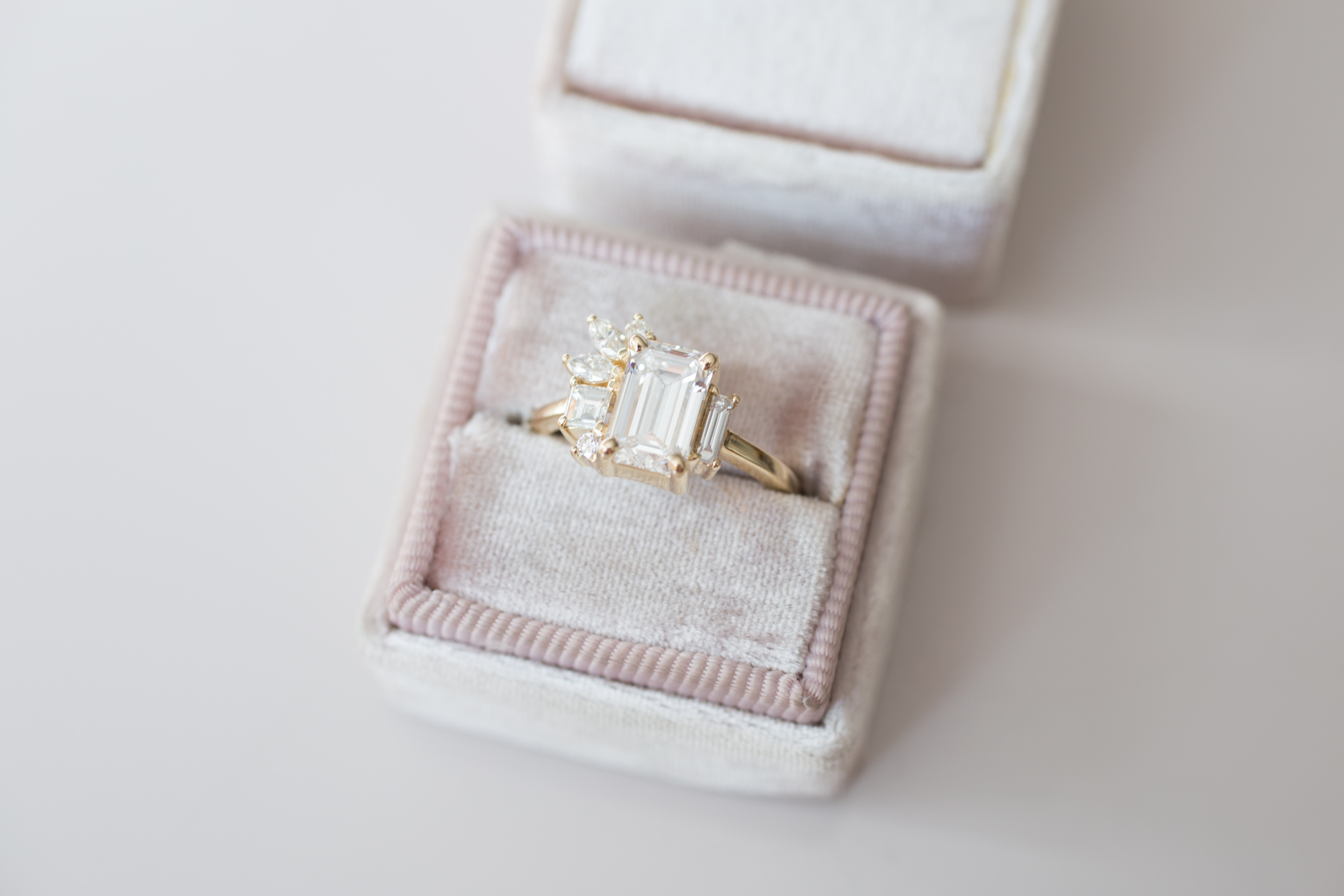 Angi + Matt Emerald Diamond Marquise Side Cluster Ring-7.jpg