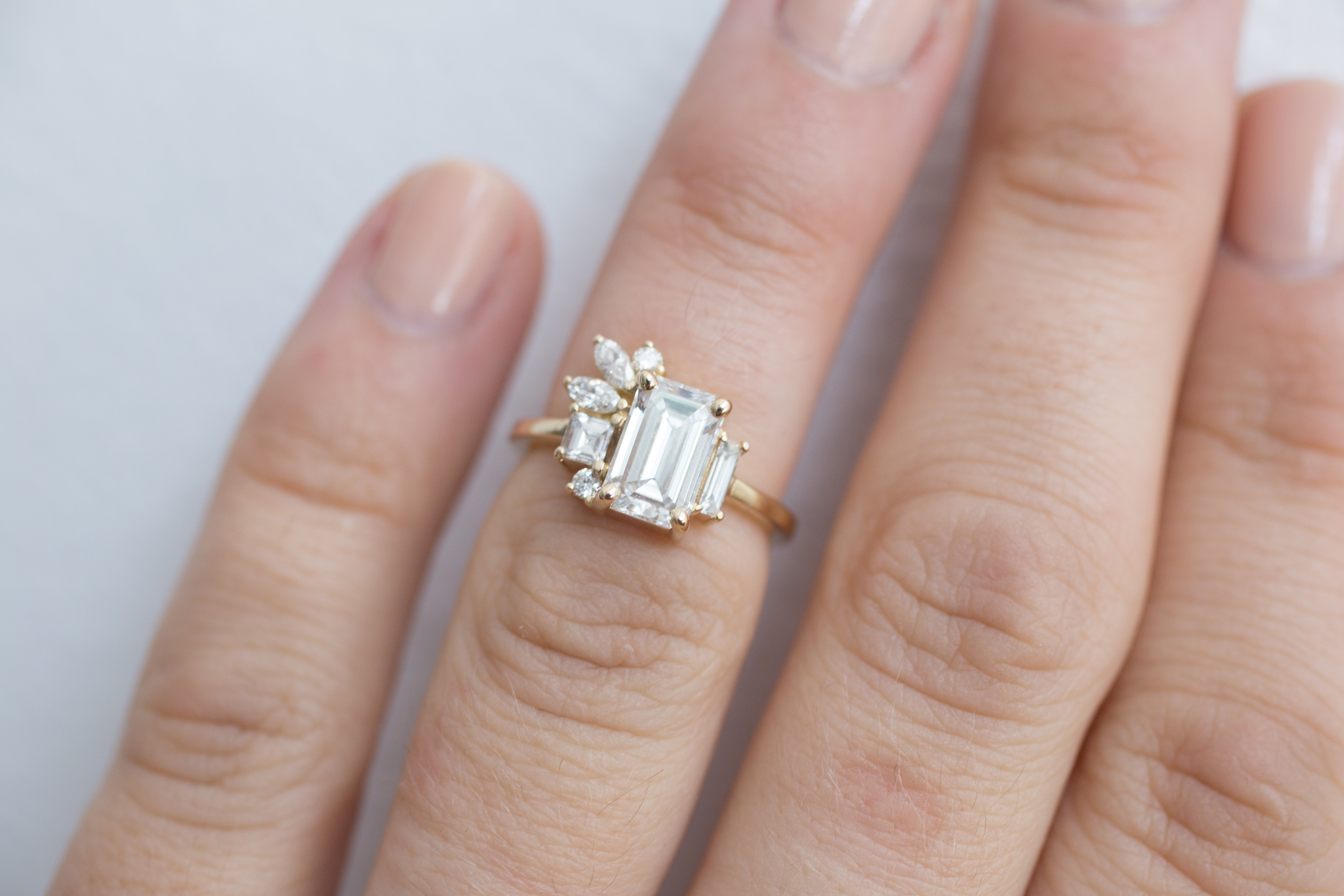 Angi + Matt Emerald Diamond Marquise Side Cluster Ring-13.jpg