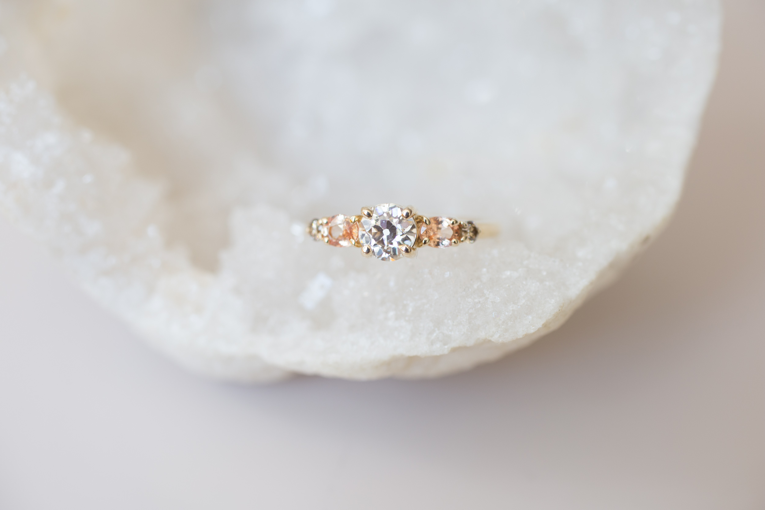 Glenn + Eliot EOC Diamond, Peach Sapphire, Champagne Diamond Cluster Ring-3.jpg