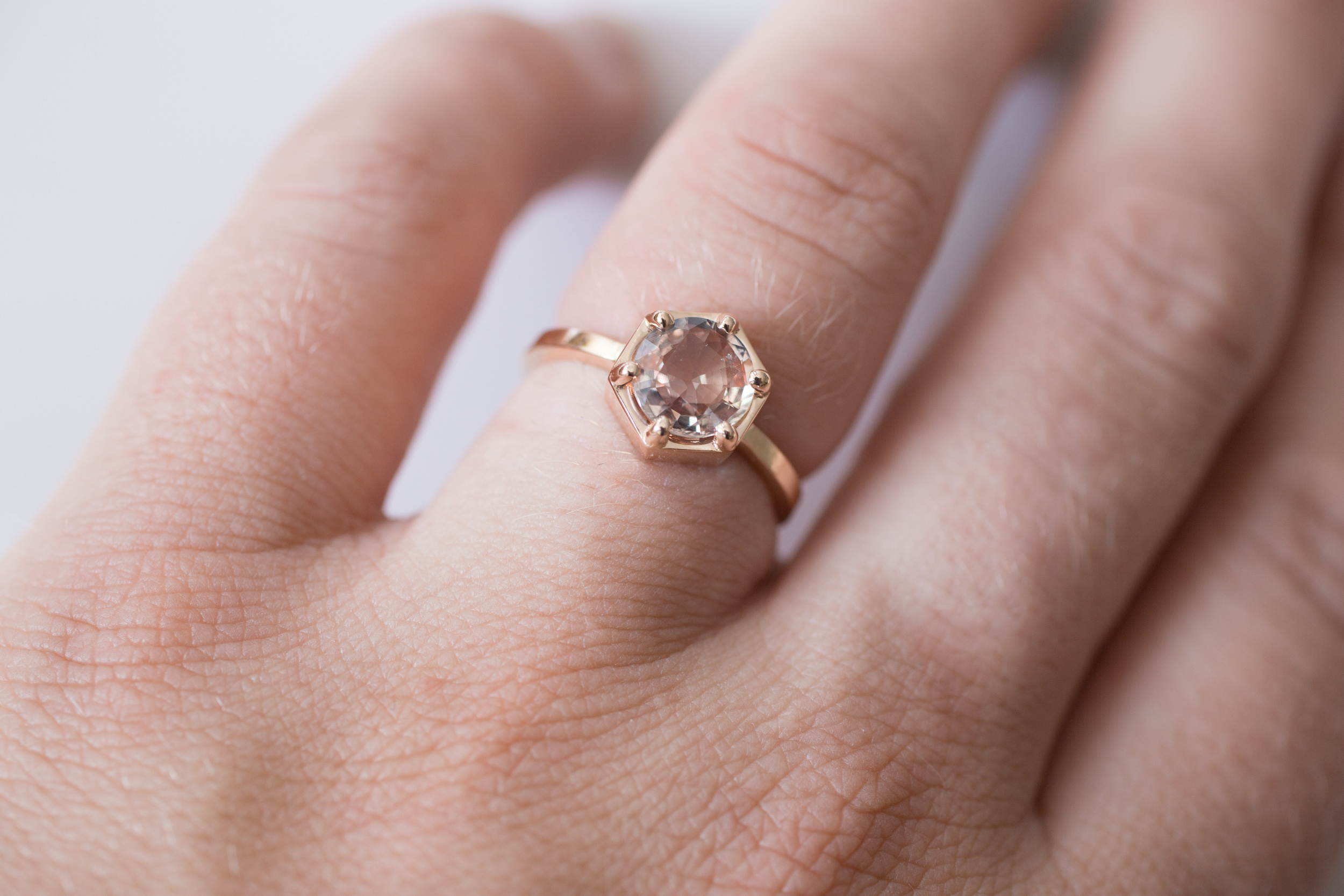 Jonathan + Liz Peach Sapphire Rose Gold Hexagon Solitaire-10.jpg