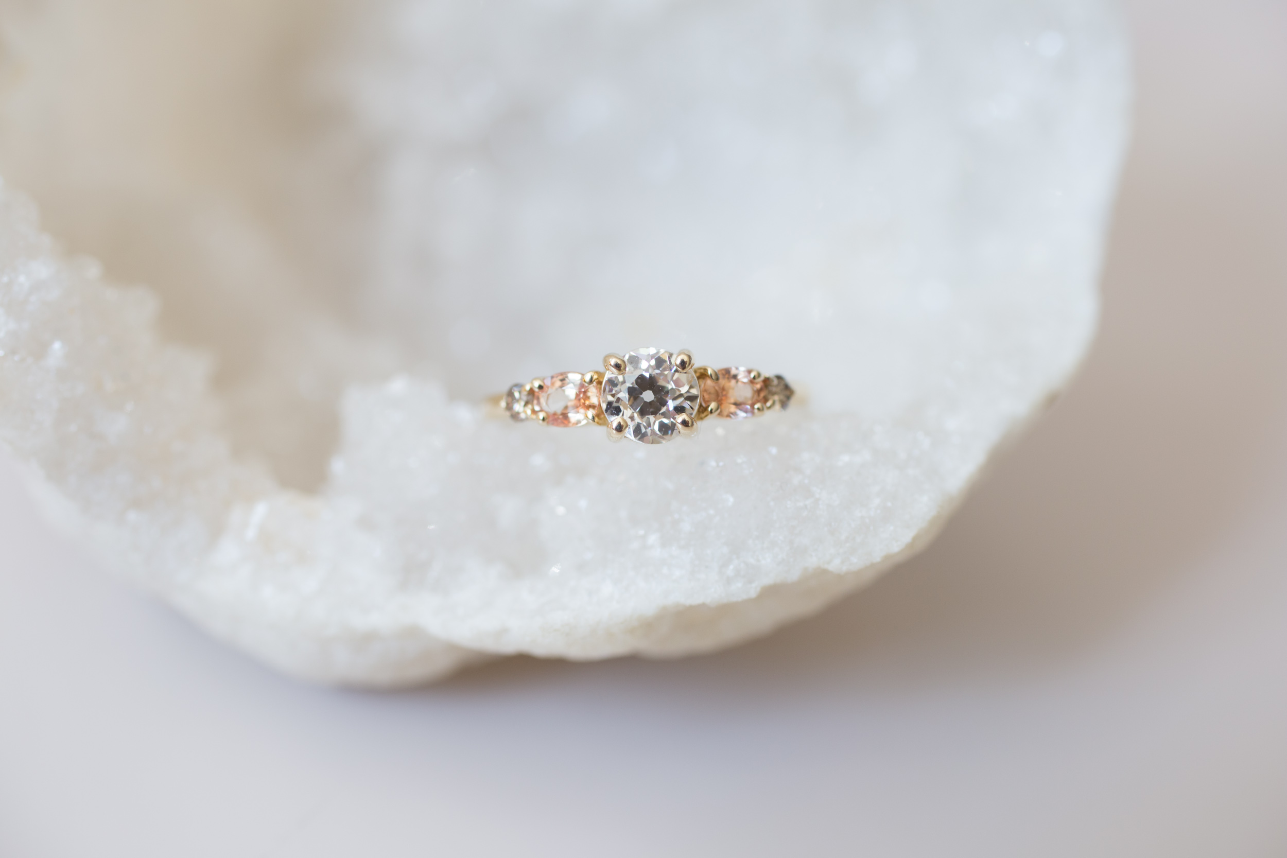 Glenn + Eliot EOC Diamond, Peach Sapphire, Champagne Diamond Cluster Ring-1.jpg