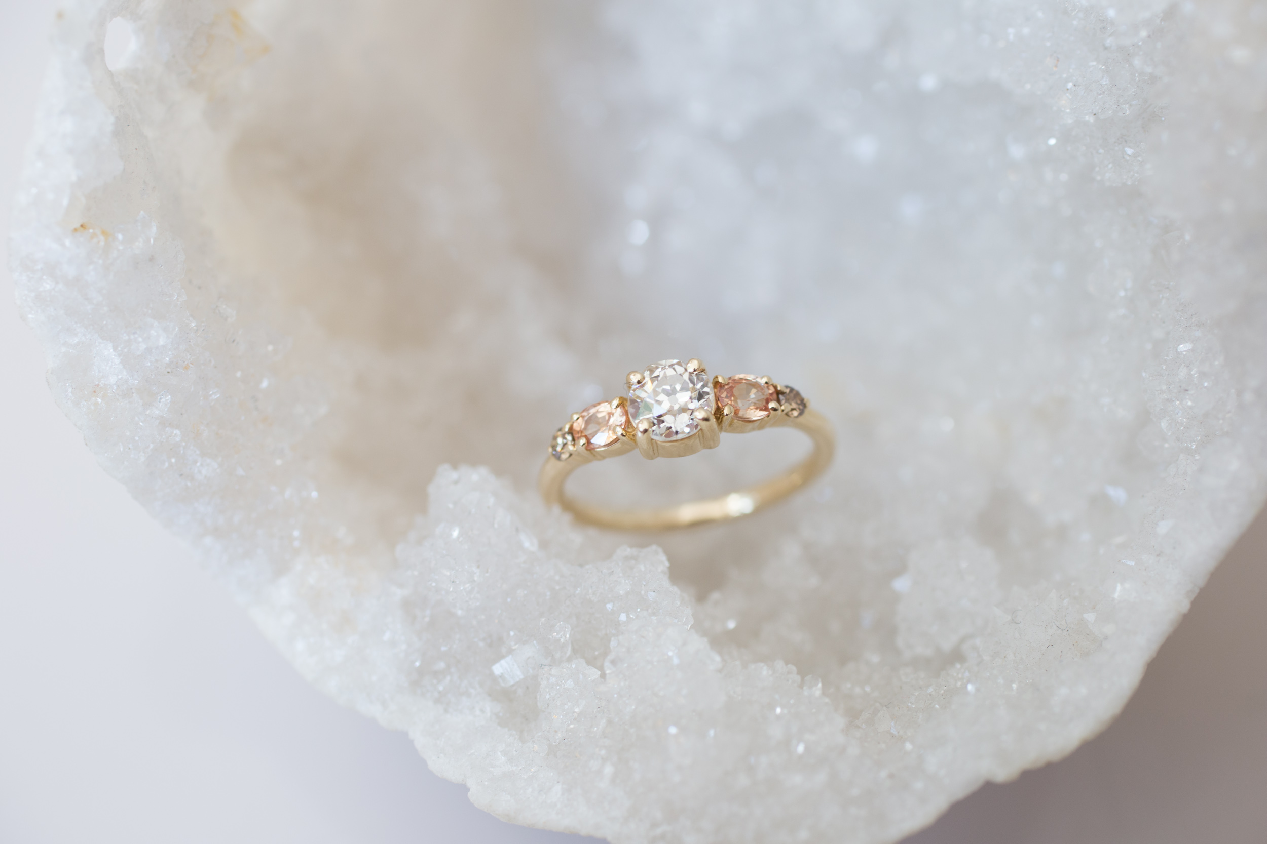 Glenn + Eliot EOC Diamond, Peach Sapphire, Champagne Diamond Cluster Ring-5.jpg