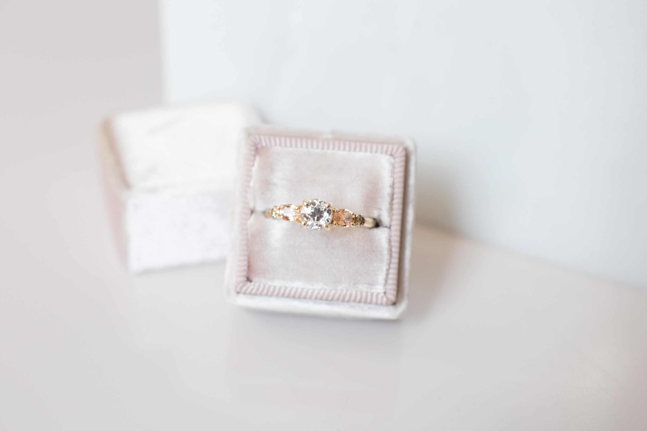 Glenn + Eliot EOC Diamond, Peach Sapphire, Champagne Diamond Cluster Ring-8.jpg