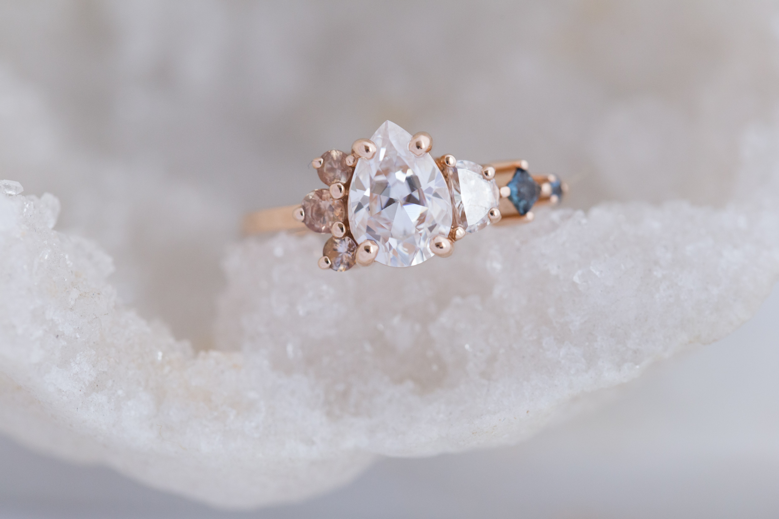 Alexis + Chris Pear Moissanite Sapphire Cluster Ring-1.jpg