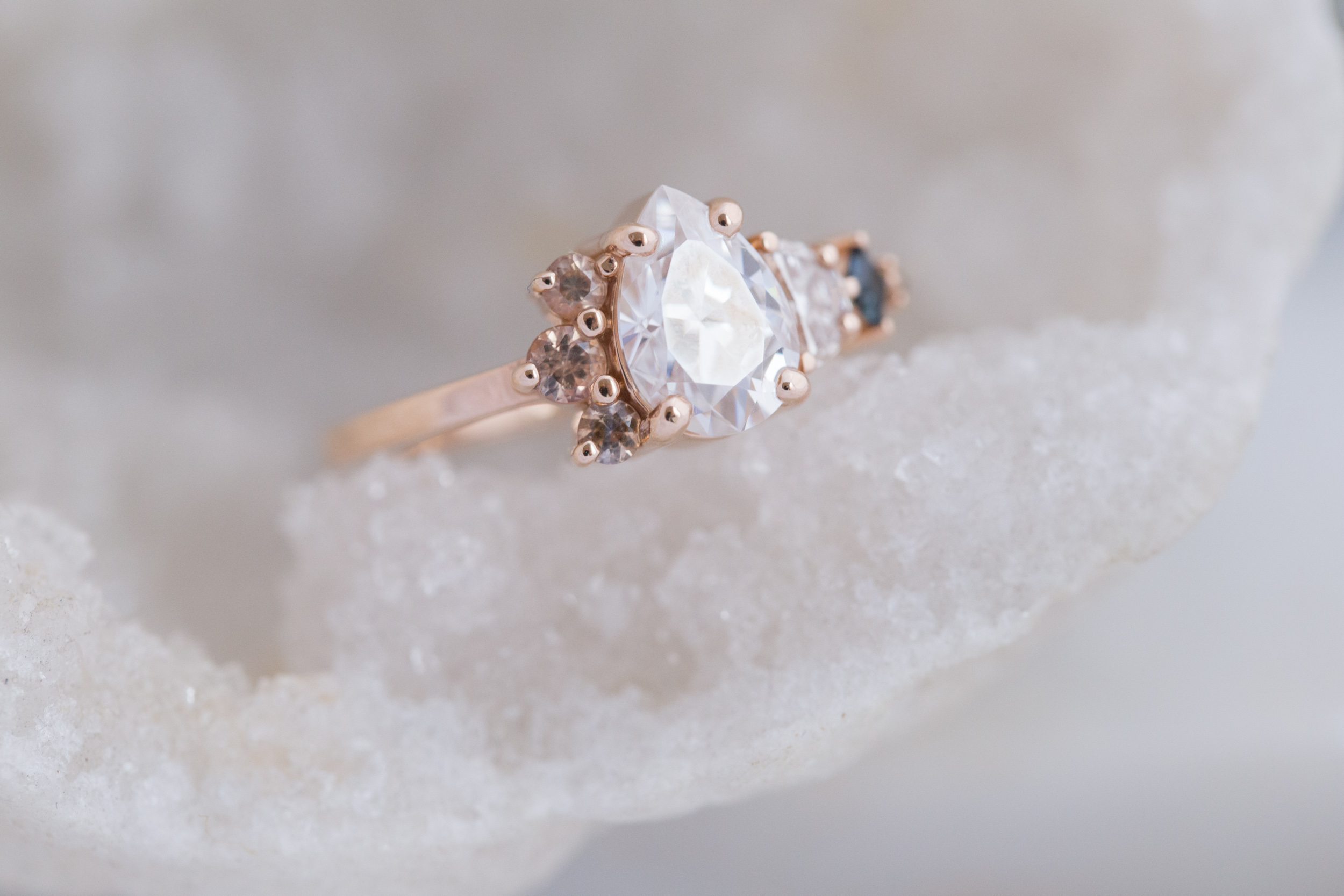 Alexis + Chris Pear Moissanite Sapphire Cluster Ring-2.jpg