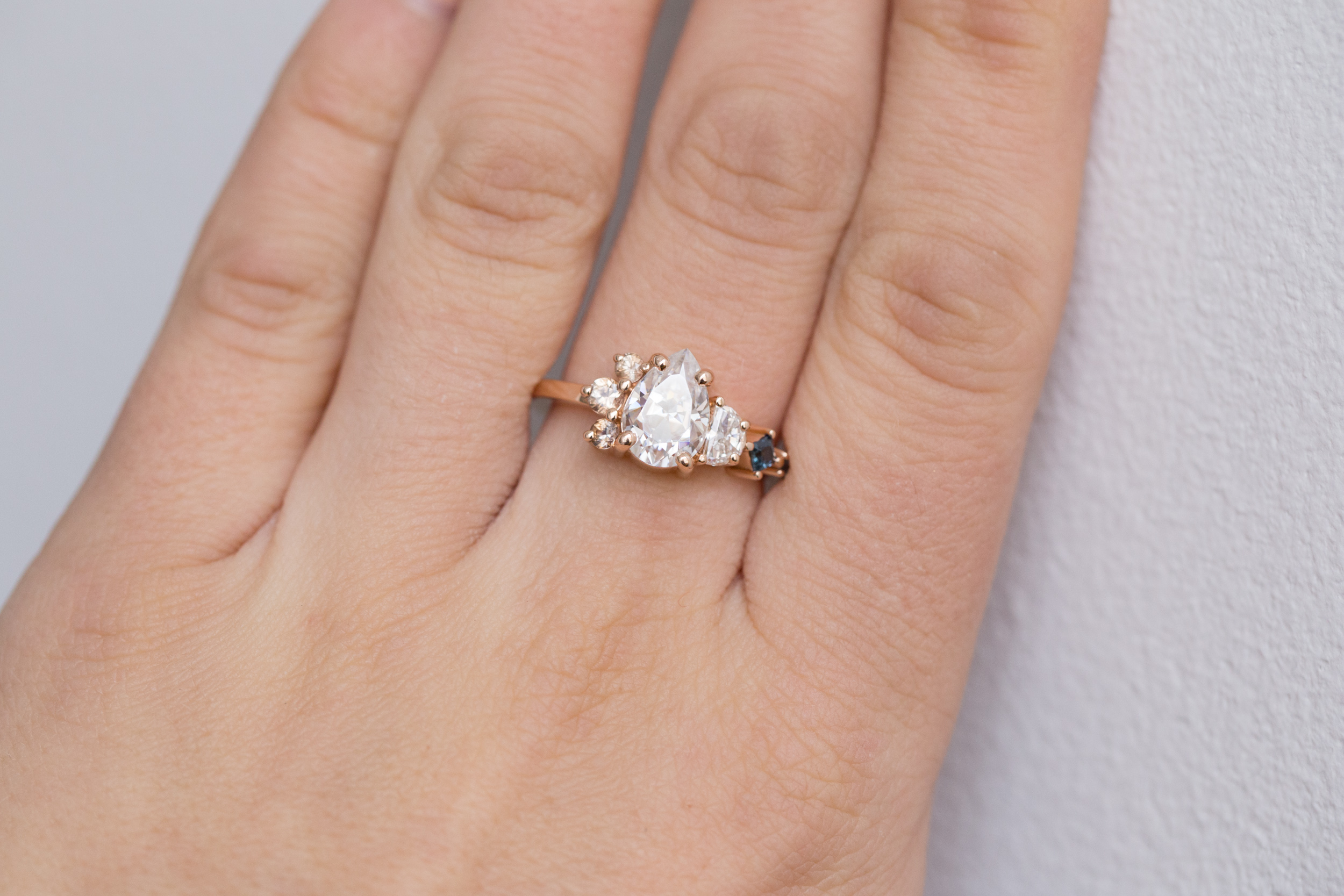 Chris + Alexis Pear Moissanite Sapphire Cluster Ring-7.jpg