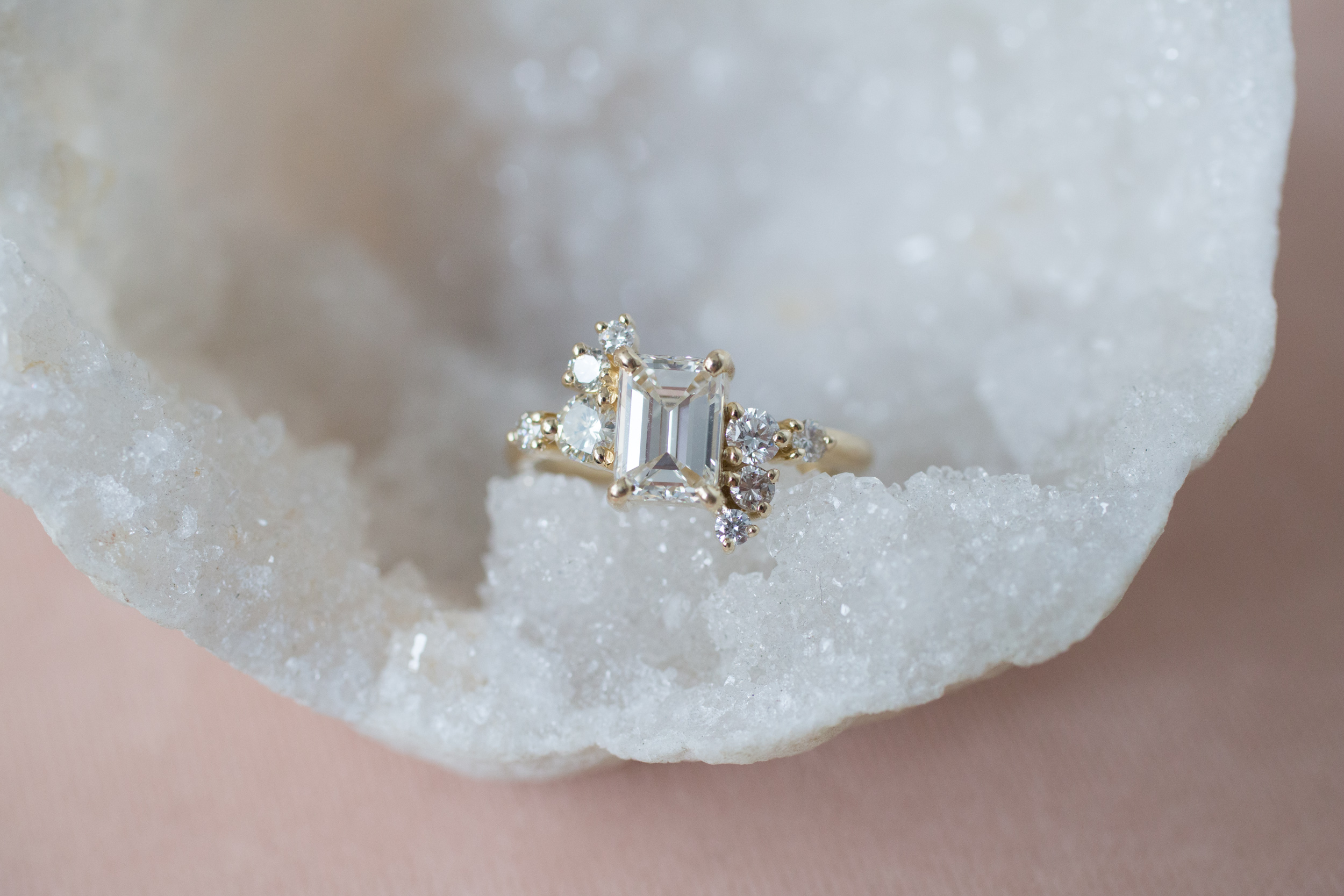 Lance + Kaylee Heirloom Emerald Cut Diamond Cluster Ring-1.jpg
