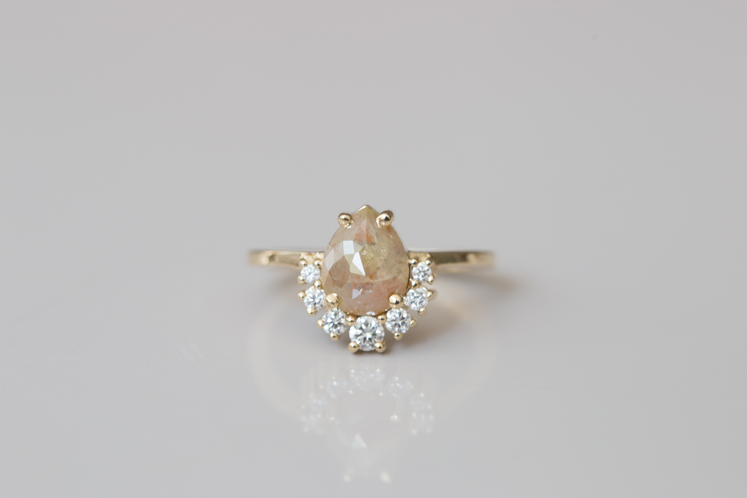5cb465214269b Peach Pear Rose Cut Rustic Diamond + Diamond Cluster Engagement Ring | 14k  Recycled Gold | One of a Kind — Mineralogy