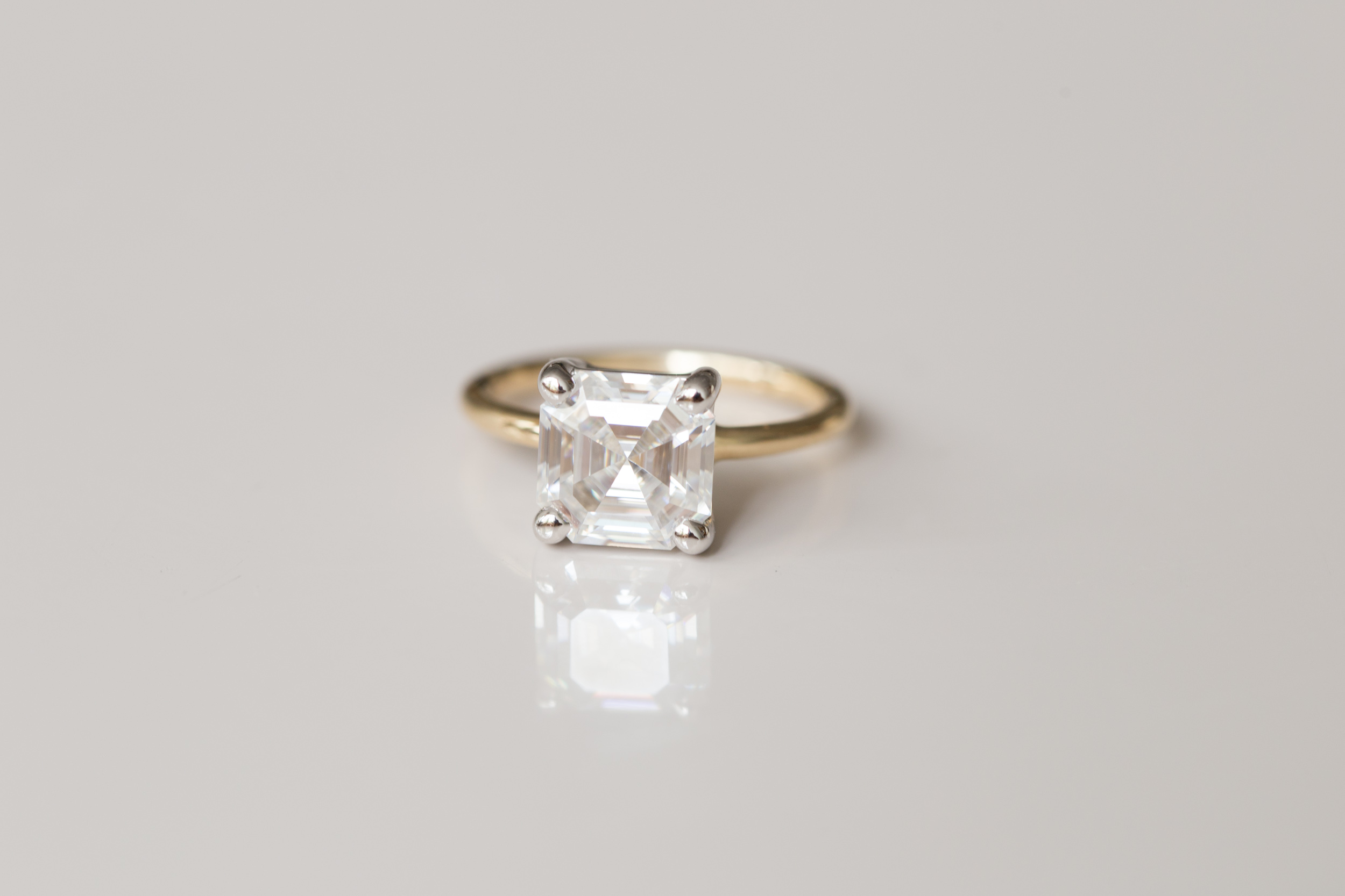 Asscher Cut Moissanite Solitaire Engagement Ring | 14k Recycled Gold —  Mineralogy