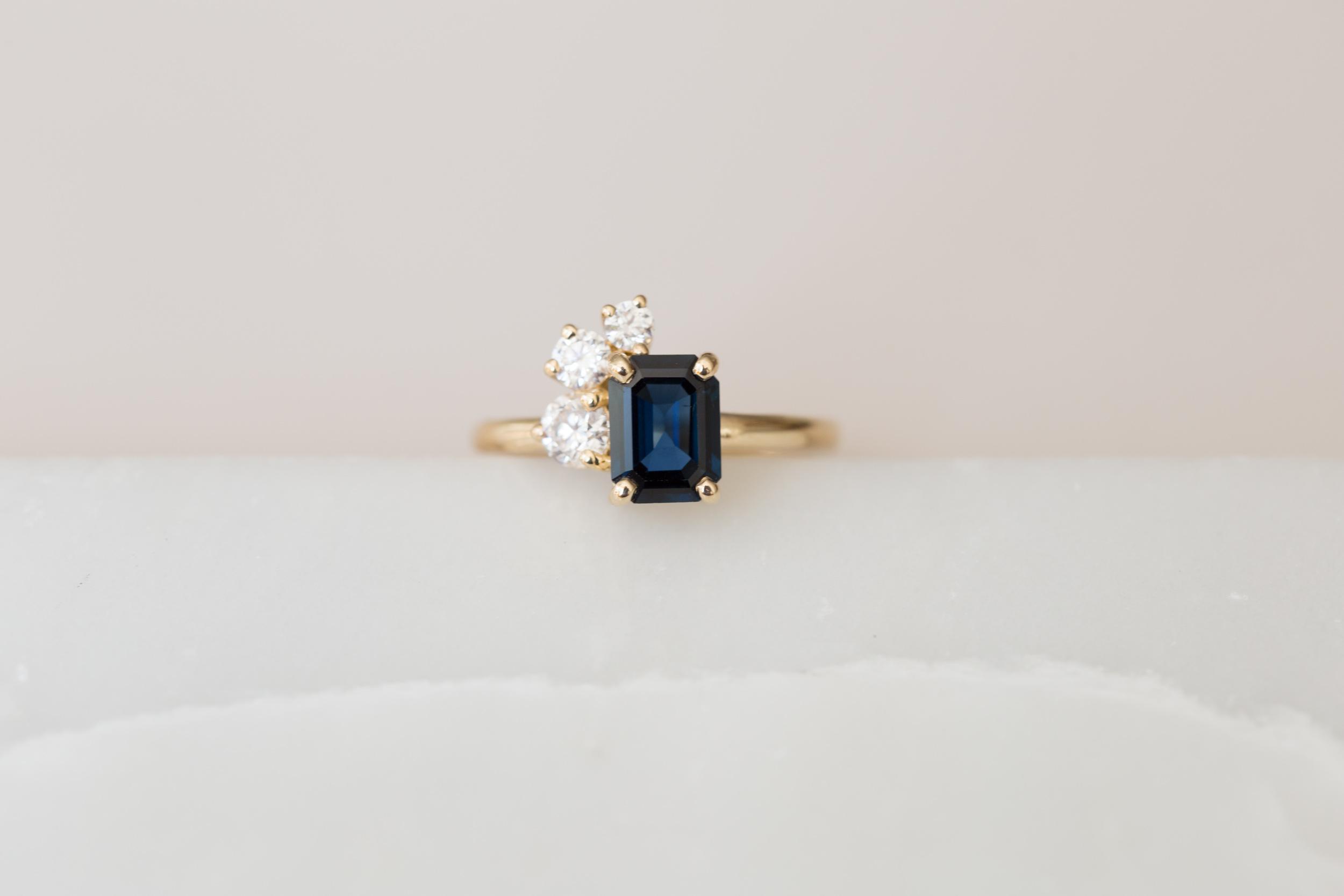Miles + Catherine Emerald Cut Sapphire Diamond Cluster-4.jpg
