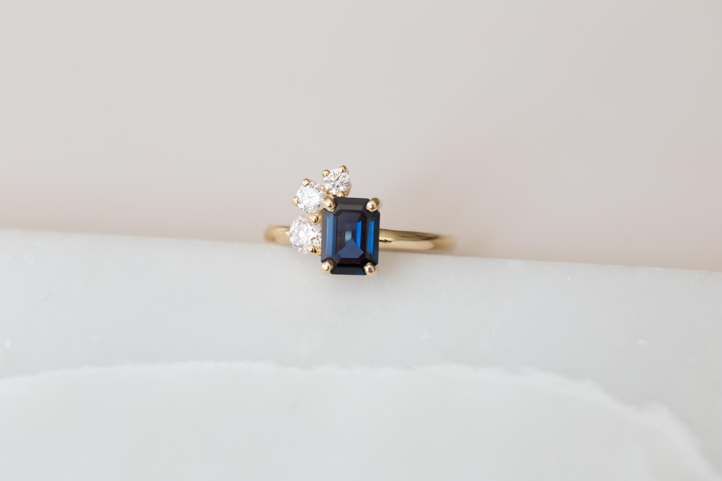 Miles + Catherine Emerald Cut Sapphire Diamond Cluster-5.jpg