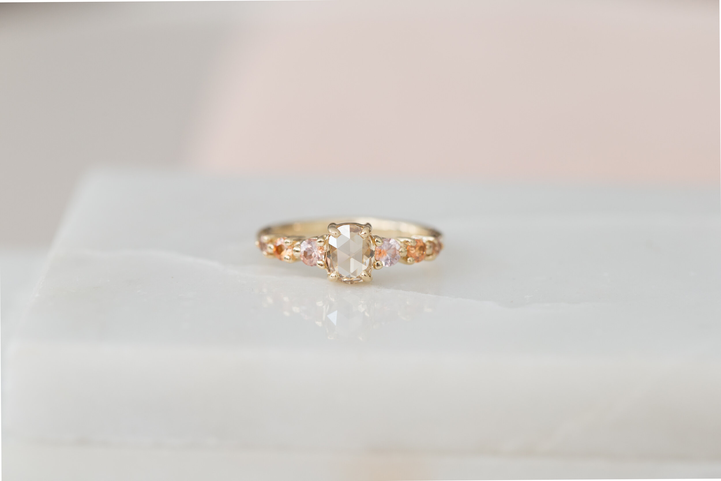 Rose Cut Oval Champagne Diamond Peach Sapphire Accent Engagement Ring One Of A Kind Mineralogy