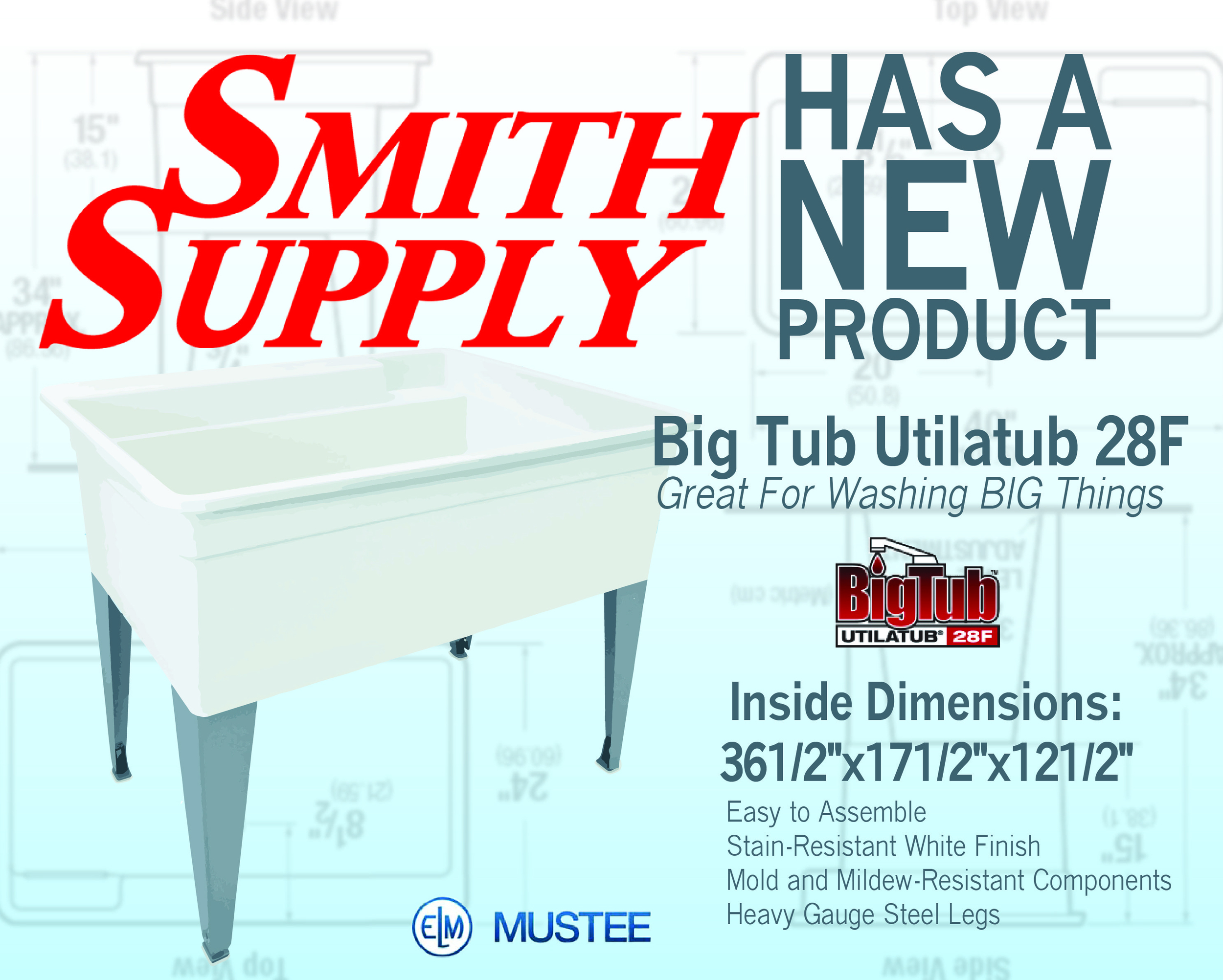http://www.mustee.com/product-lines/laundry-utility-tubs/28F.html   Specification Sheet:   http://www.mustee.com/product-lines/laundry-utility-tubs/downloads/pdf/28F.pdf