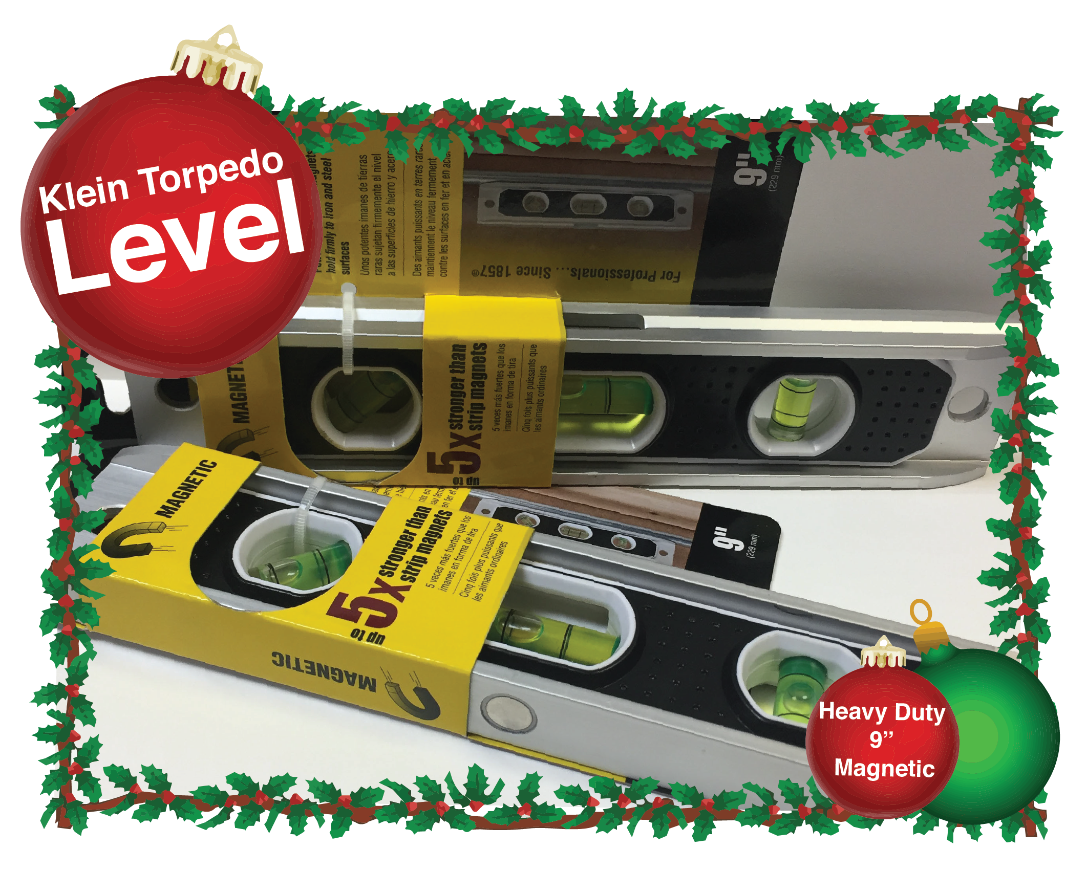 Klein Torpedo Level. This heavy duty 9 inch magnetic level is a great addition to any toolbox. Part Number: 931-9RE.