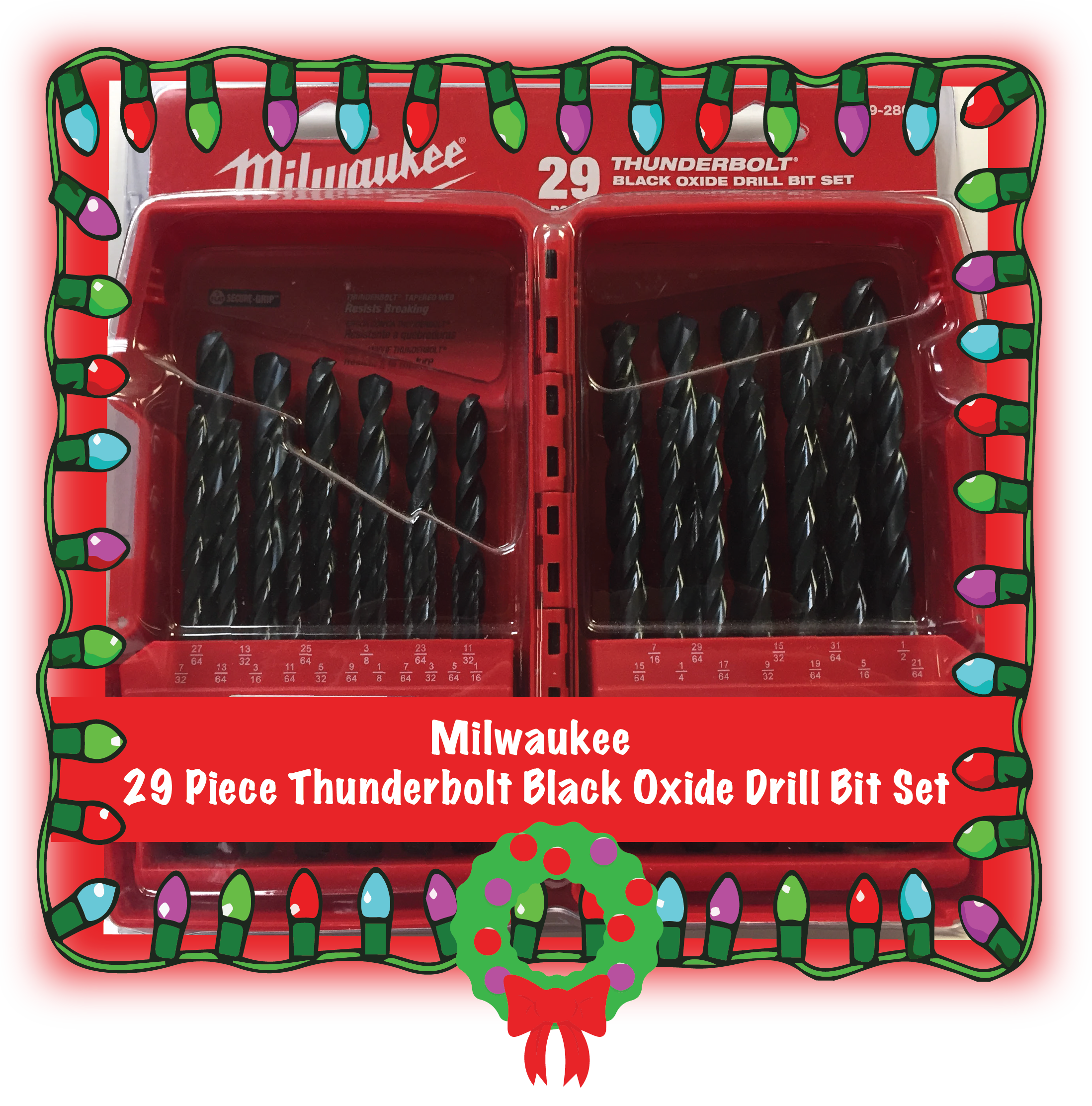 Milwaukee 29 Piece Thunderbolt Black Oxide Drill Bit Set. Heavy duty durable drill bits contained in a box just as durable as the bits. Part Number: 48-89-2802