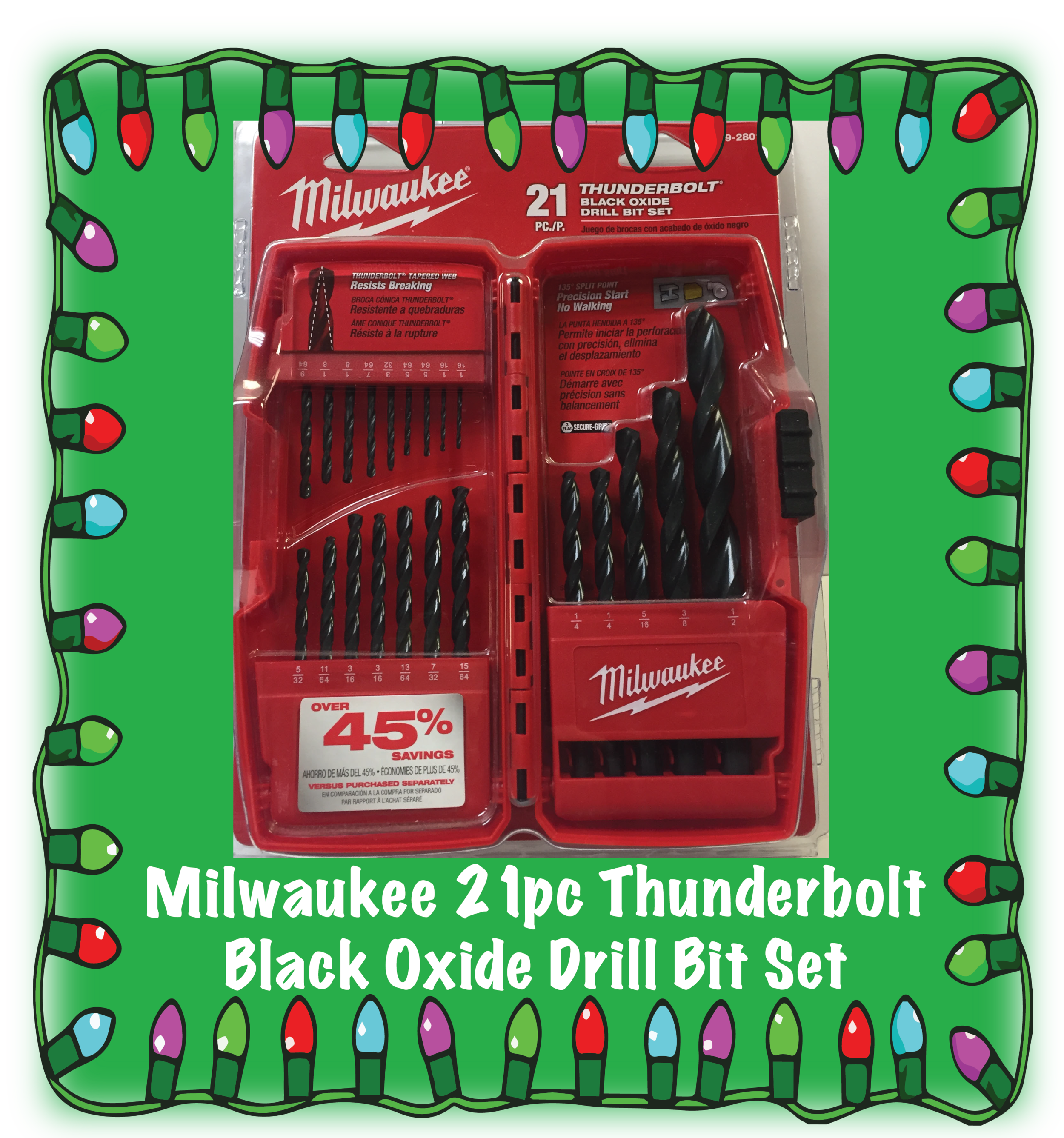 Milwaukee 21 piece Thunderbolt Black Oxide Drill Bit Set. Part Number: 48-89-2801