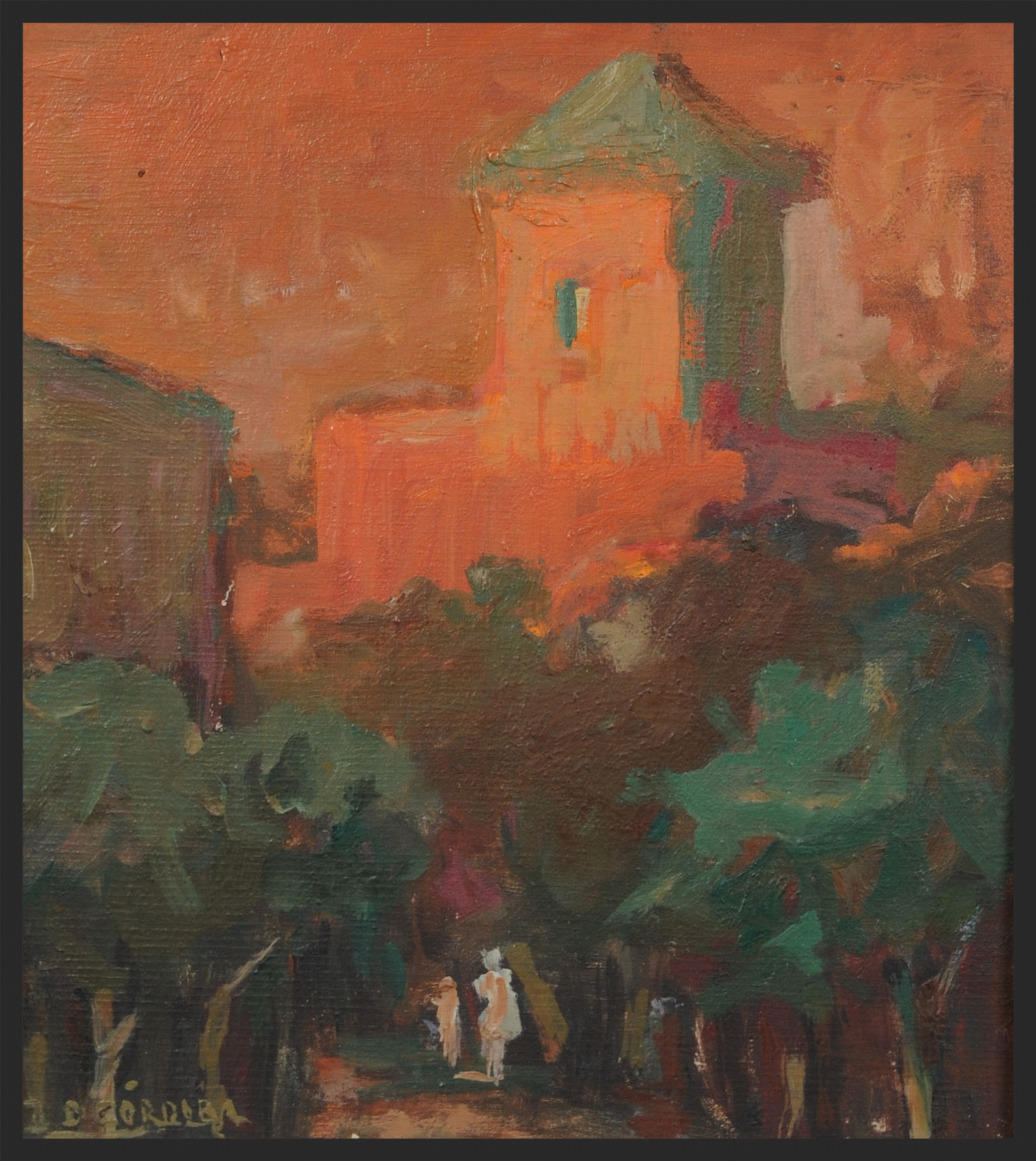 """""""Afternoon"""" - Oil on wooden panel( 7 x 9in - 18 x 23 cm )    This is one of my favourite paintings by my Grandpapa. It was given me by my grandmother. Every time I look at it, it transports me to the crimson sunsets of the dusty skies of the Argentine Sierras, where I spent my childhood holidays."""
