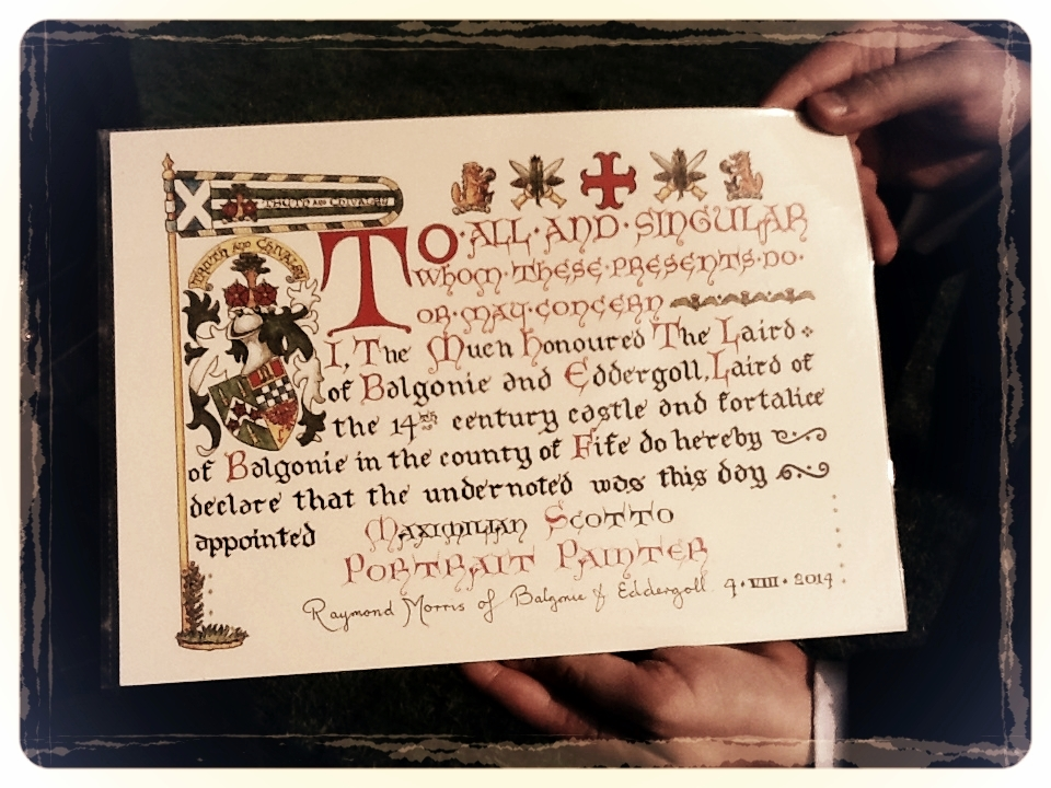 Certificate of Appointment to the Laird's own Household - Portrait painter to the Laird of Balgonie