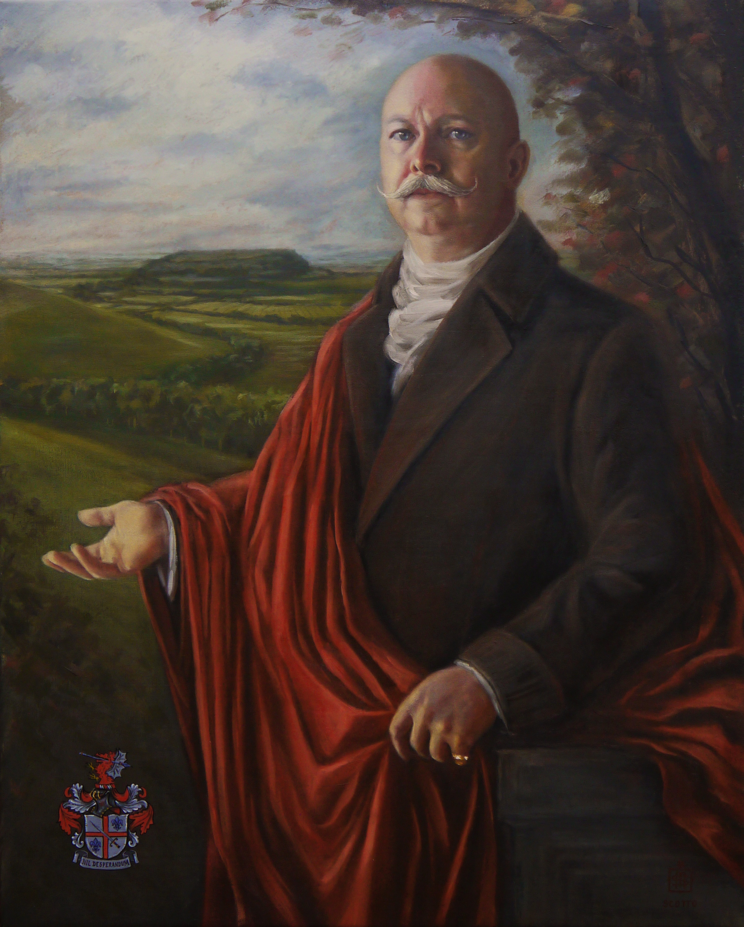 Completed painting. The Baron extends his right hand in a welcoming gesture. The background shows a view of South Cadbury. The mound which breaks the horizon line is where Cadbury Castle once was, a site rich of archaeological interest as it is believed to be the seat of Camelot, where the legendary King Arthur had his court.