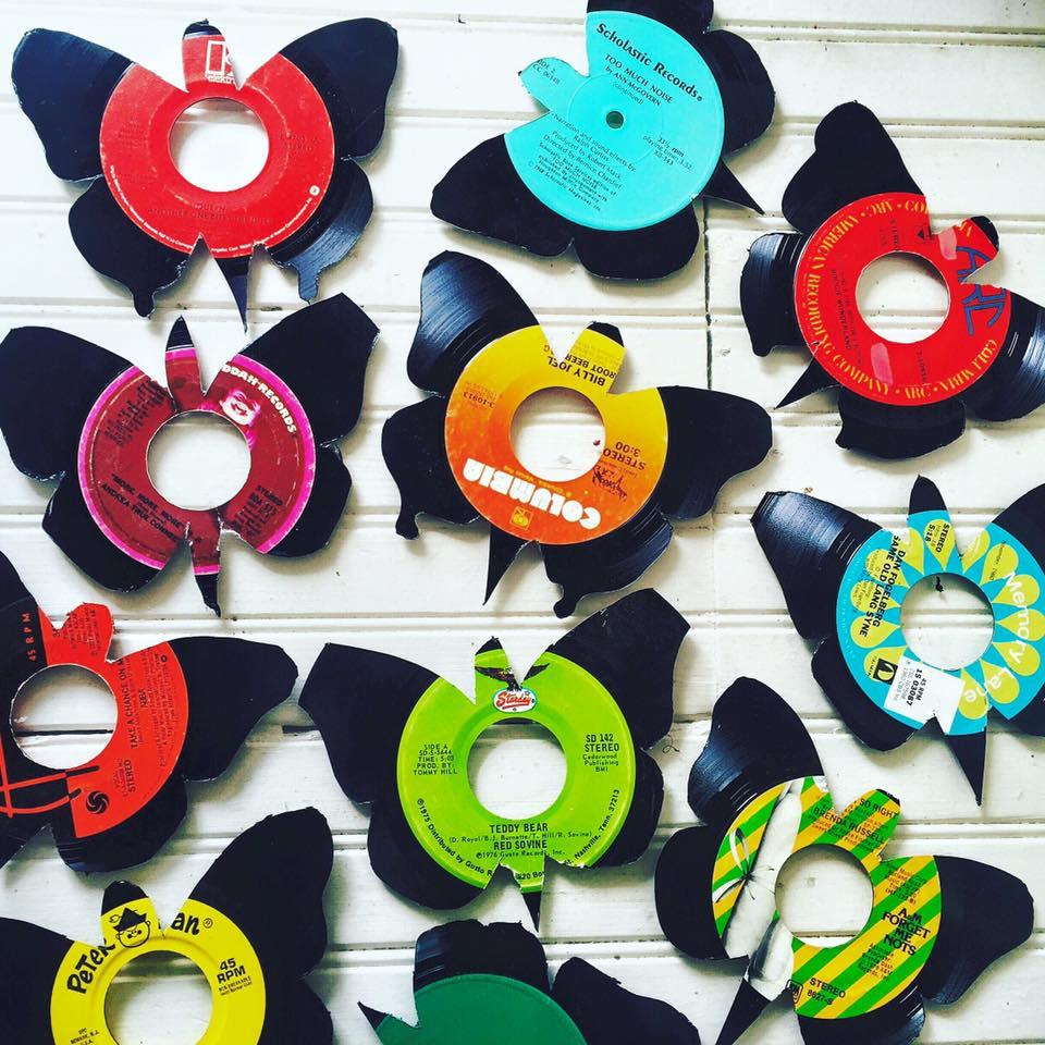 Vinyl butterflies at Sundance Books and Music