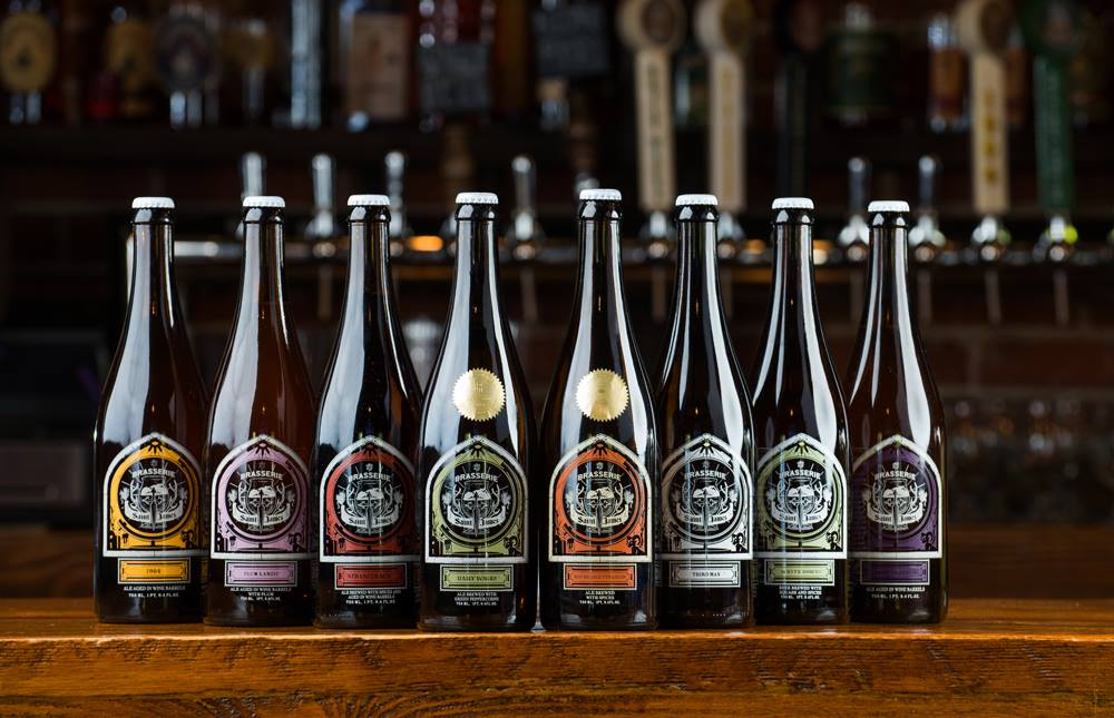 Bottles of Brasserie Saint James beer