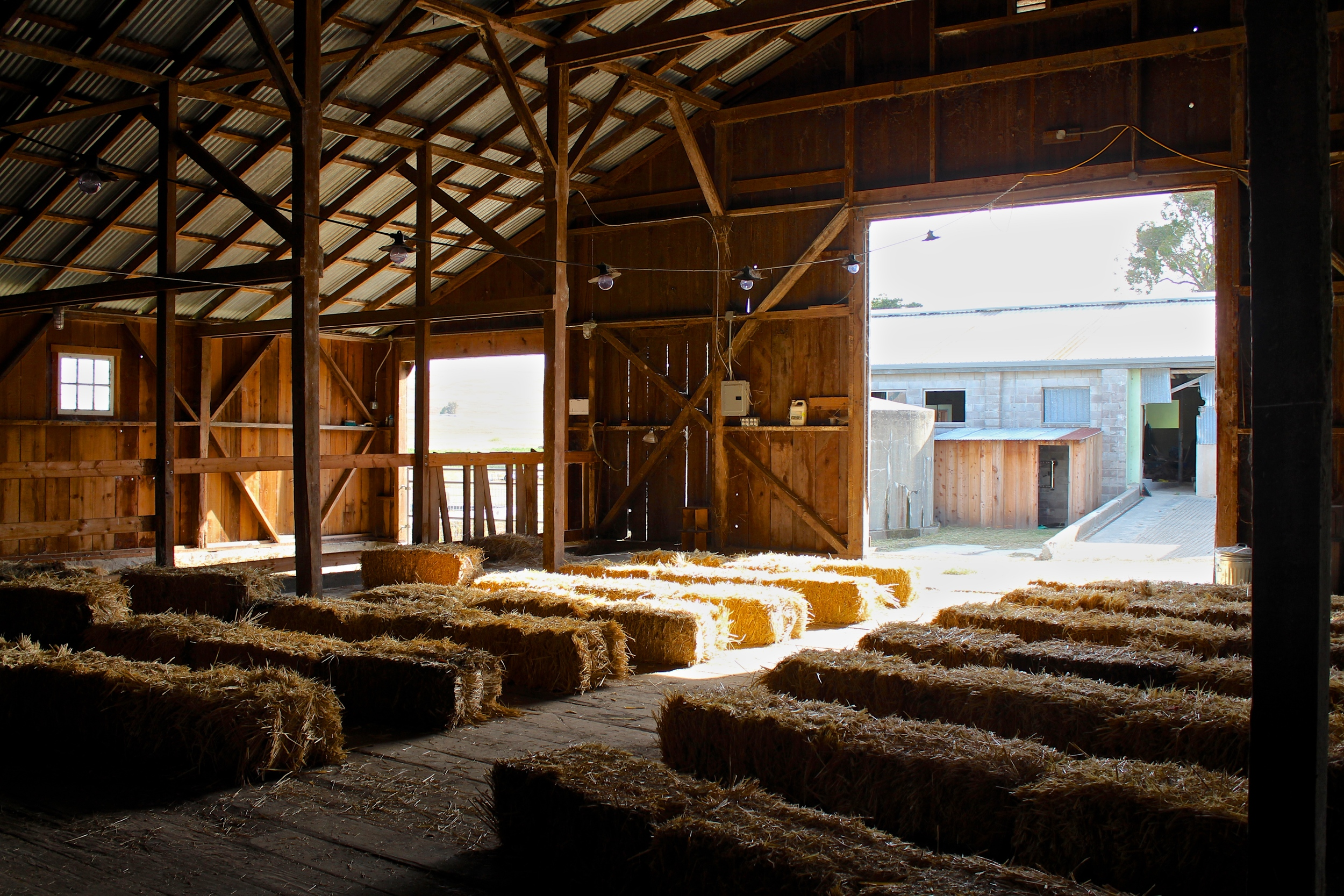 The hay barn set up for a talk.