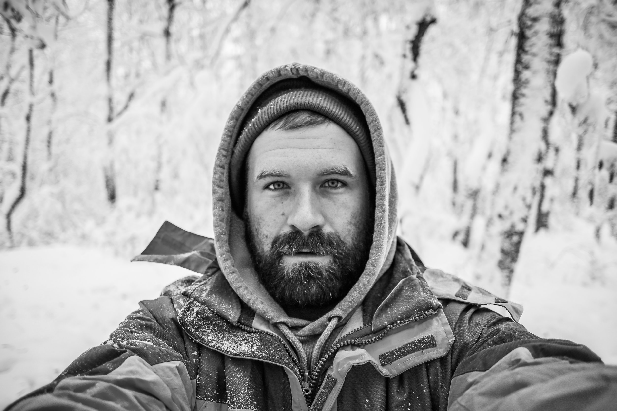 -a cold selfie after spending the night on a snowy section of the Appalachian Trail