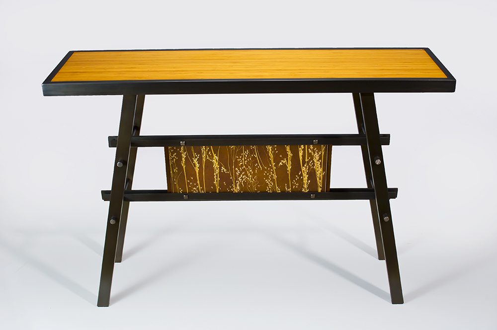 Bamboo Console  $1,890 Available with bamboo, custom wood or steel top. also with meadow grass, leaf, rice paper or copper panel below. Dowel construction. Custom finishes available.