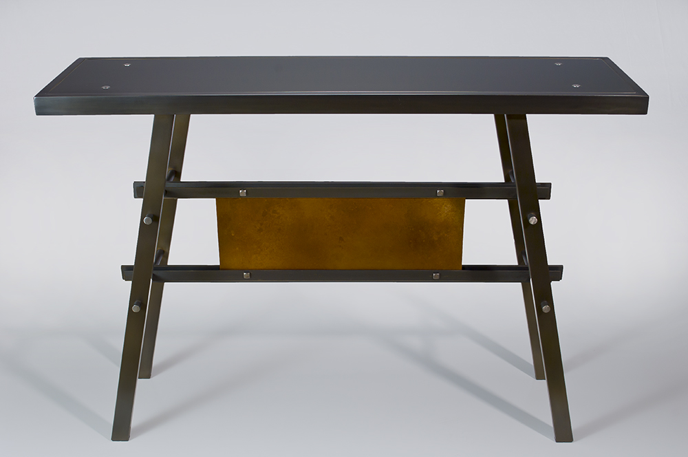 Steel and Copper Console  $1,890 Available with bamboo, custom wood or steel top. also with meadow grass, leaf, rice paper or copper panel below. Dowel construction. Custom finishes available.