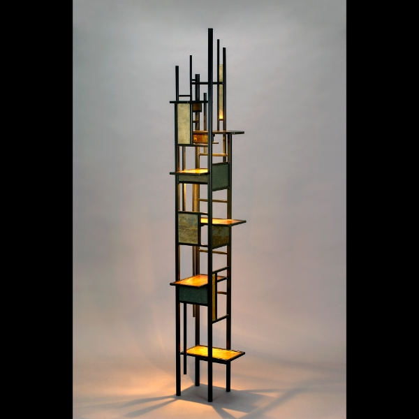 Light Tower  Walnut, Steel, Slate