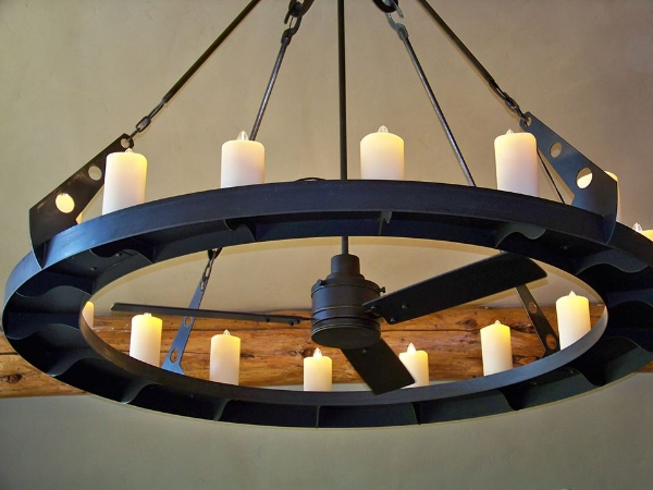 Custom Metal Fan and Lighting System  collaboration with Iron West, Bend, Oregon
