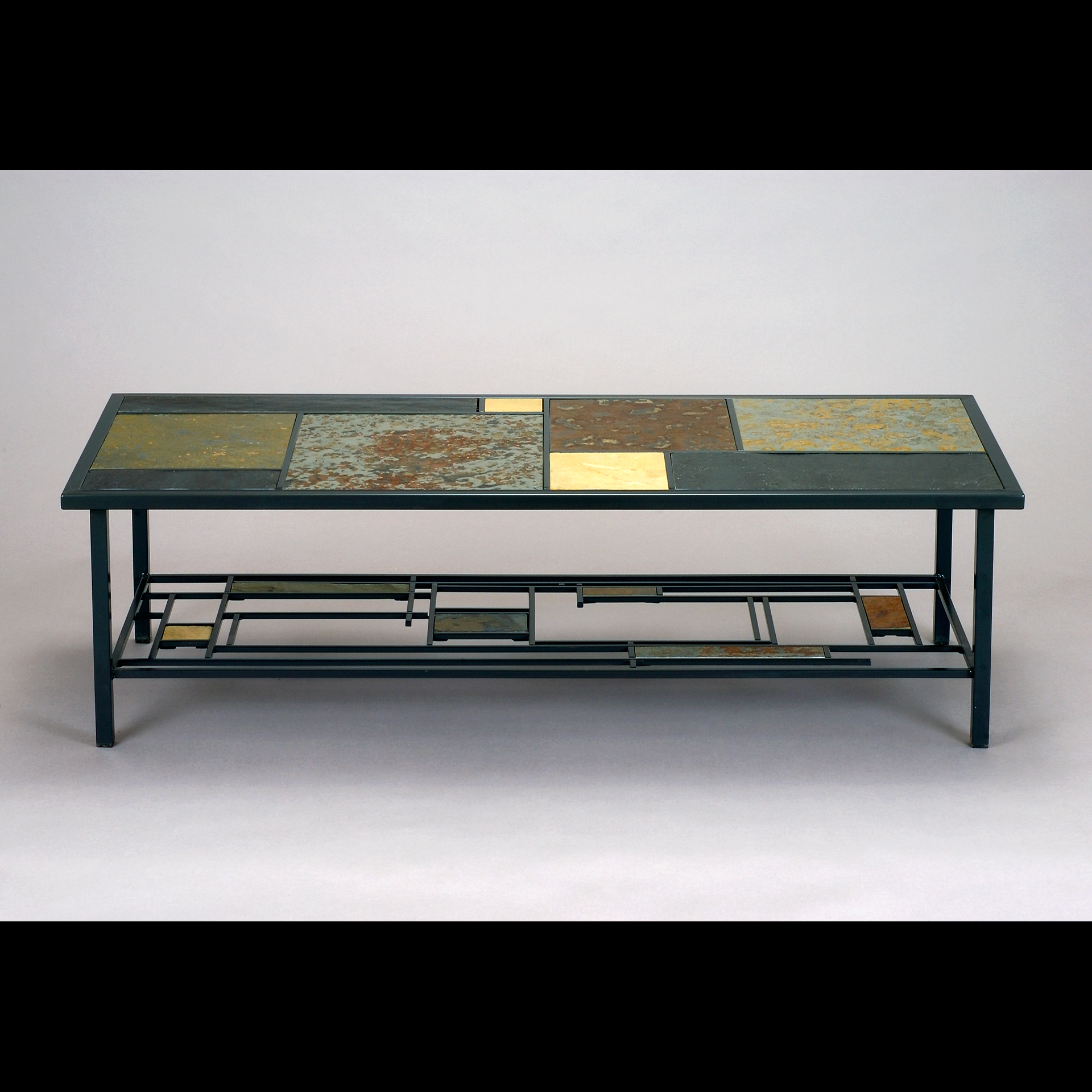 Custom Slate and Steel Coffee Table