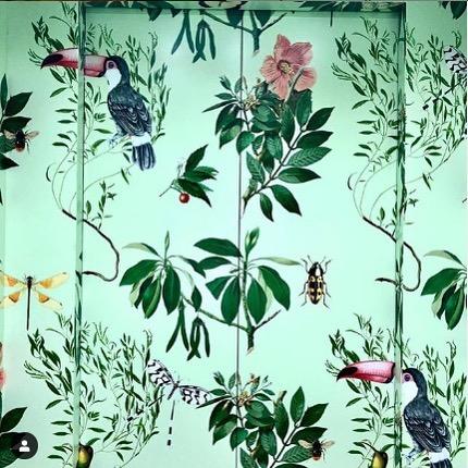 Wallpaper in the elevator @greenmoustachenorthsydney custom made by us!
