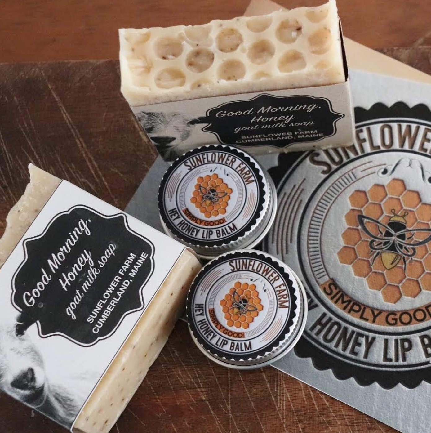 SUNFLOWER FARM GOOD MORNING HONEY SOAP- Since its ingredients are all tasty stuff you might eat for breakfast on a farm we think the name fits!    GOAT MILK  is the star of this amazing soap. The cream that is present in goat milk helps boost the moisturizing quality of goat milk soaps. We use late lactation milk which is super high in  butterfat . Goat milk soap will not dry your skin out like many other soaps. Goat milk contains  alpha-hydroxy acids  which help remove dead skin cells from your skin. Goat milk is high in  Vitamin A , which helps repair damaged skin tissue. Vitamin A can help to reduce lines and wrinkles, control acne, and provide some psoriasis relief. Goat milk also contains Selenium which has been shown to have an important role in preventing skin cancer.  Selenium  can also help prevent damage to the skin from excessive time in the sun. Many areas in the Northeast have pastures low in selenium. We supplement our herd with Selenium and copper for their health and soap rich in good minerals is the bonus!    COCONUT OIL : The fatty acids found in coconut oil have antimicrobial properties that effectively kill bacteria and fungi.  HONEY : Honey is naturally antibacterial, so it's great for acne treatment and prevention. Honey is also full of antioxidants, which are great for slowing down aging. It is extremely moisturizing and soothing, so it helps create a glow.  OLIVE OIL : Olive oil contains antioxidants that fight free-radical damage and an ingredient called squalene, which is extremely hydrating.  COFFEE GROUNDS : The exfoliating properties of coffee will certainly make your skin soft and smooth  OATMEAL : Oatmeal contains zinc that is said to reduce inflammation and kill the acne-causing bacterial action. It also helps to soak up the excess oil from the skin that may trigger acne.
