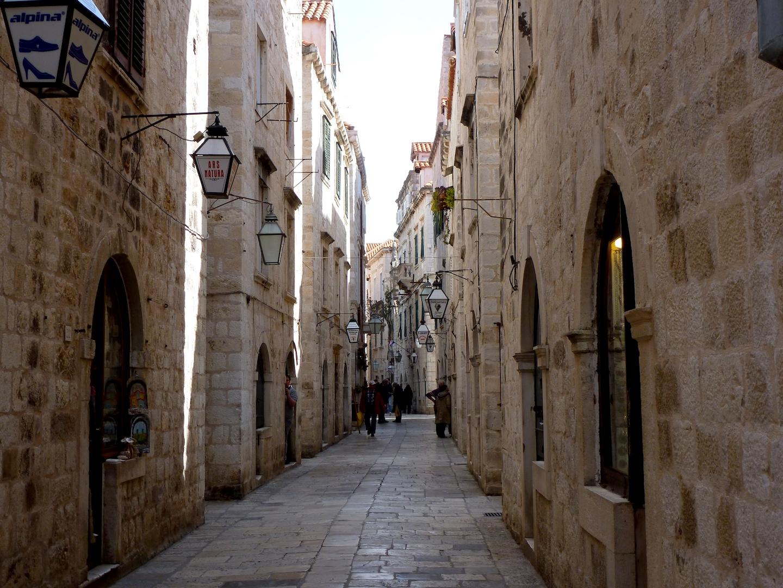 Narrow brick alleys.