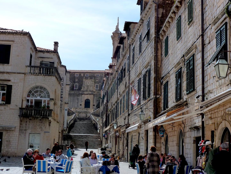 Dining al fresco in the town square.