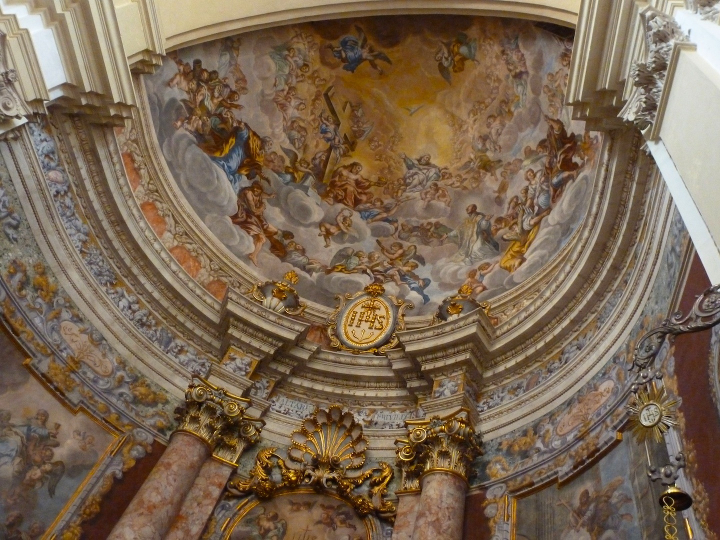 Looking up in St. Ignatius of Loyola, a Jesuit church.