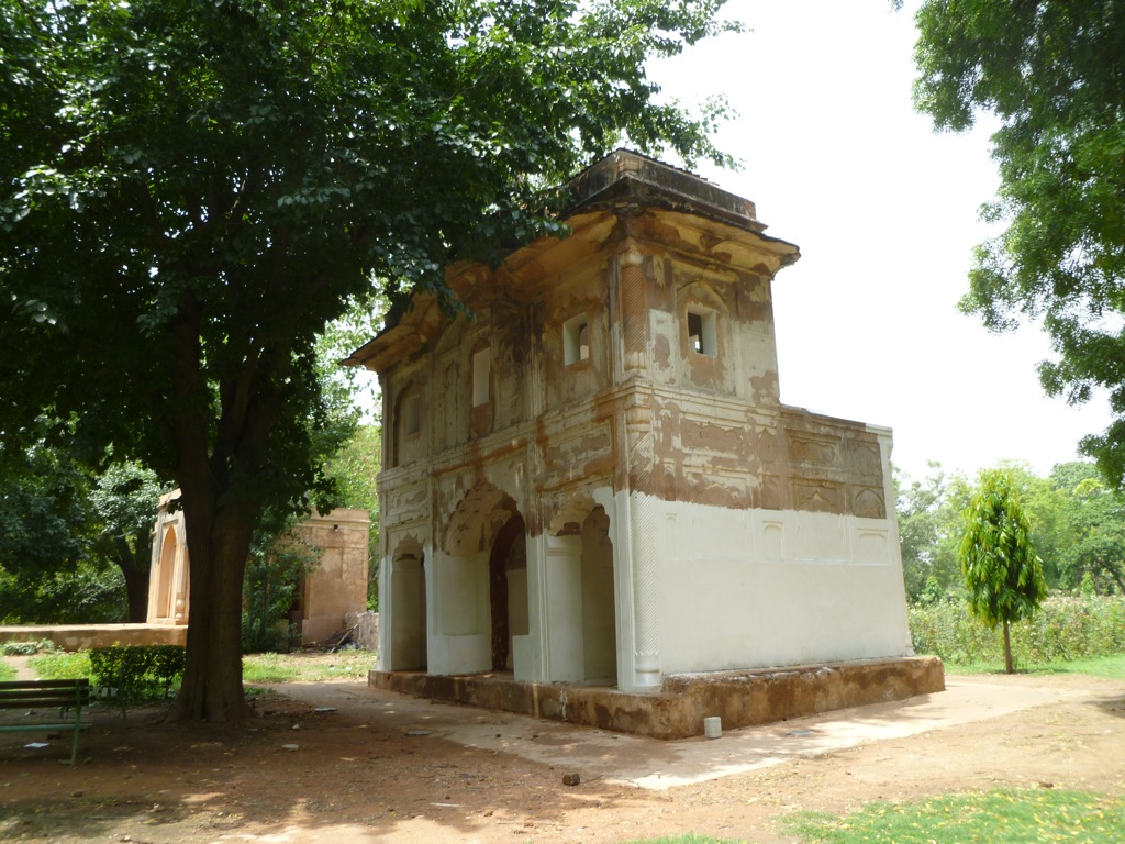 Some of the 15th-century style tombs in the park, similar to the style of architecture that was used in building the Taj Mahal.