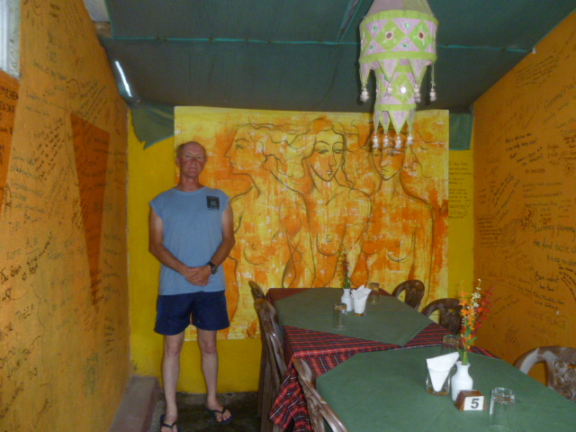 Dad in front of this cool painting in the Amehula restaurant. I wrote a blurb or two on those walls during my stay.