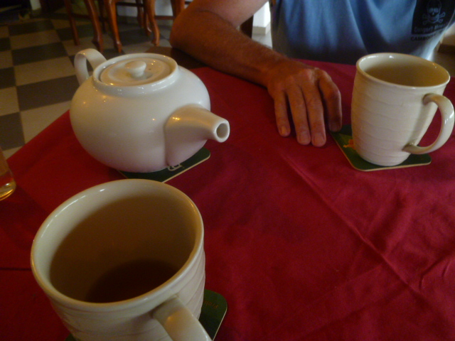 Our waiter at dinner snuck us beer by disguising it as tea. As if anyone is pounding several pots of hot tea in 99 °F weather.