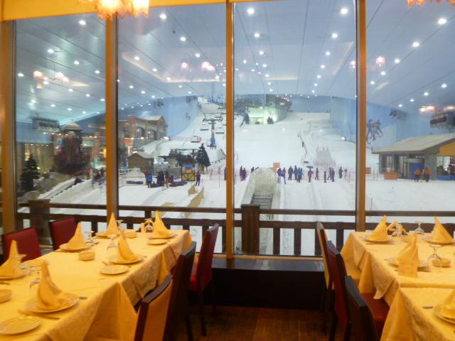 The view of Ski Dubai from the window of Karam Beirut.