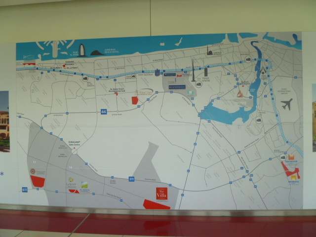 A giant metrorail map located just inside the train stop at the Mall of the Emirates.
