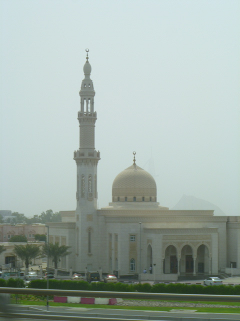 A mosque seen from the train ride down Sheikh Zayed Road.