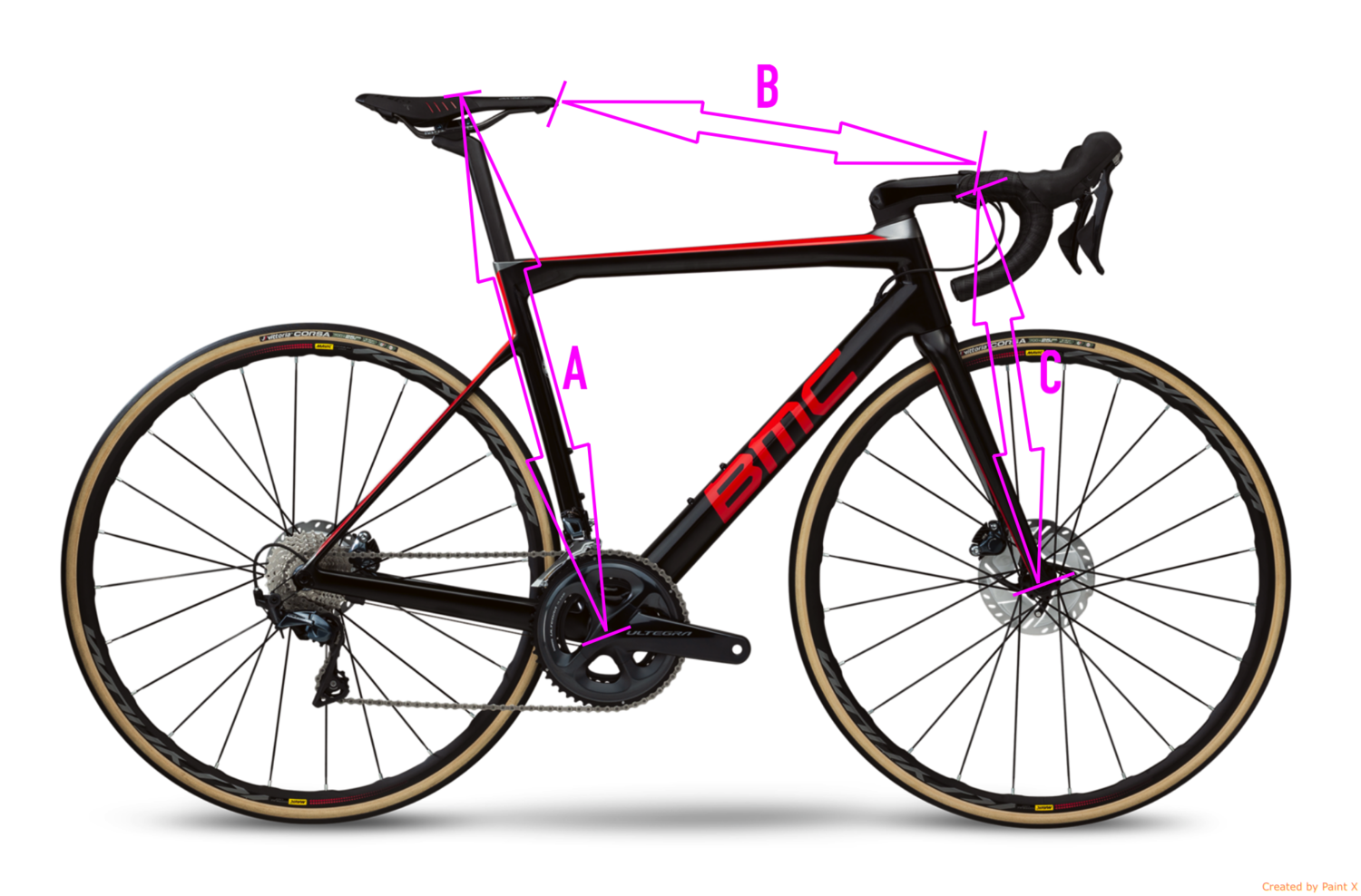 Step 1 - Paying attention to the photo - measure your bike and write down the following;A - Centre of crank arm to the top of the saddleB - Tip of the saddle to the centre of the handlebarsC - Centre of handlebars/stem to the centre of the wheel