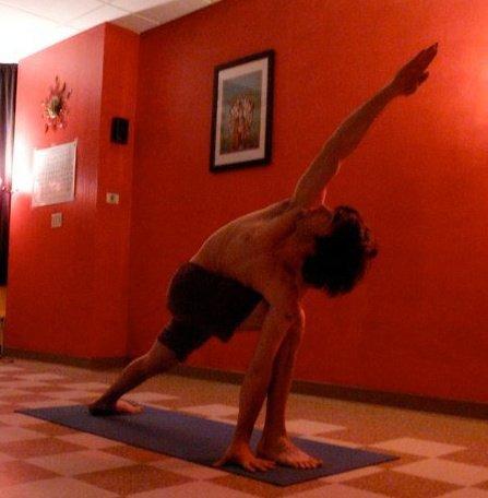 Luke Baugh in Parvritta Parsvakonasana at Exist Yoga School in 2008